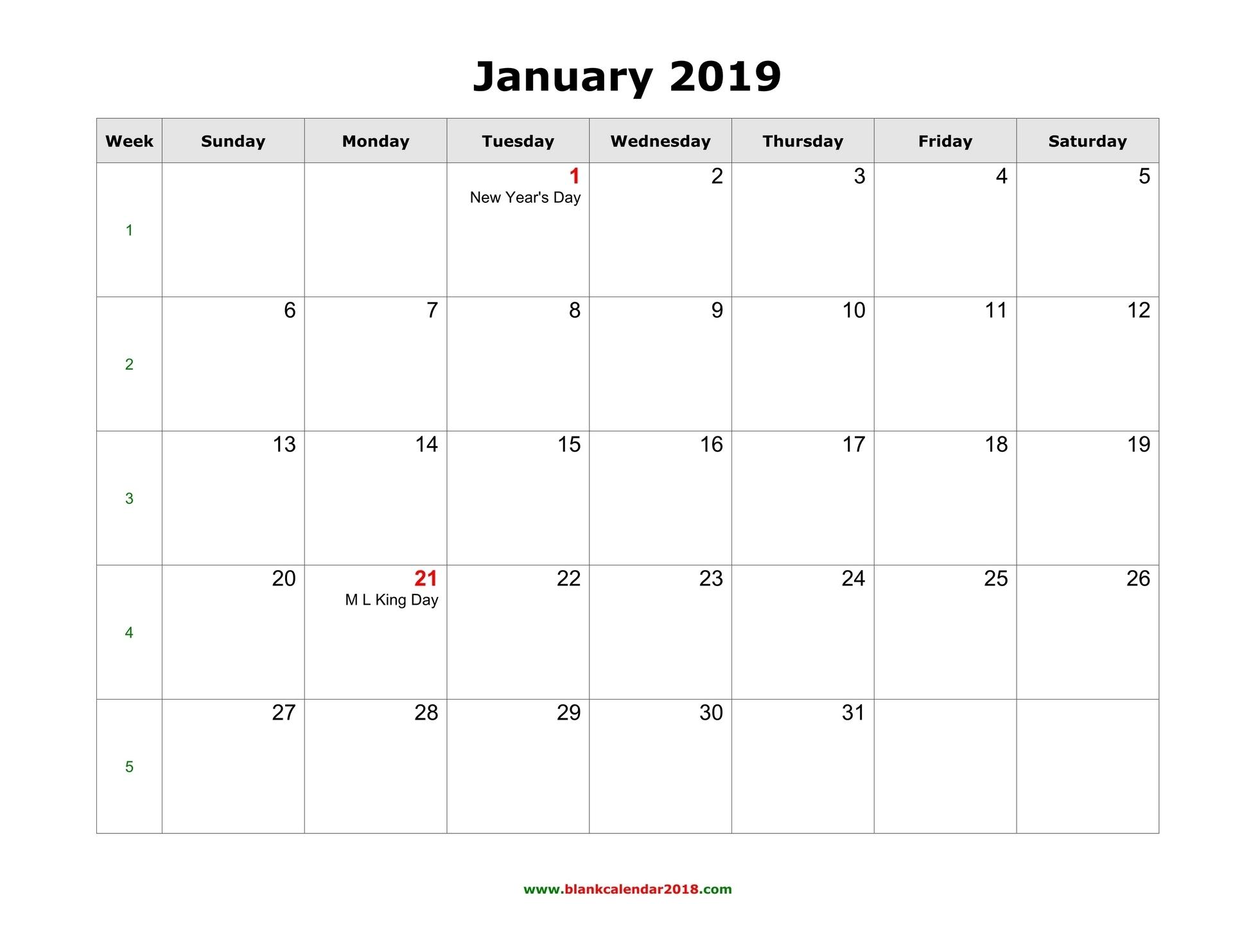 Blank Calendar 2019 with regard to Printable Fill In Calendar 2019