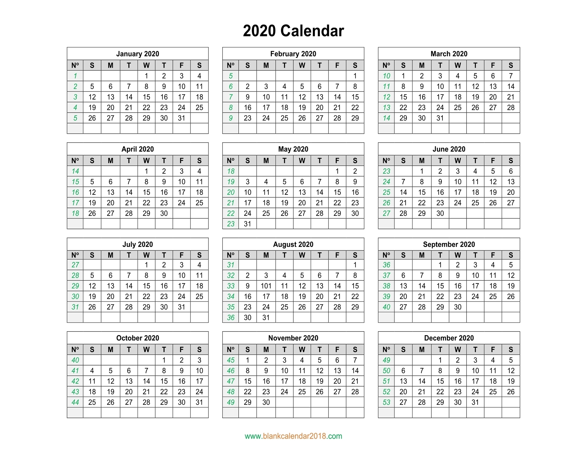Blank Calendar 2020 for Yearly Monday To Sunday Calendar 2020 With Week Numbers