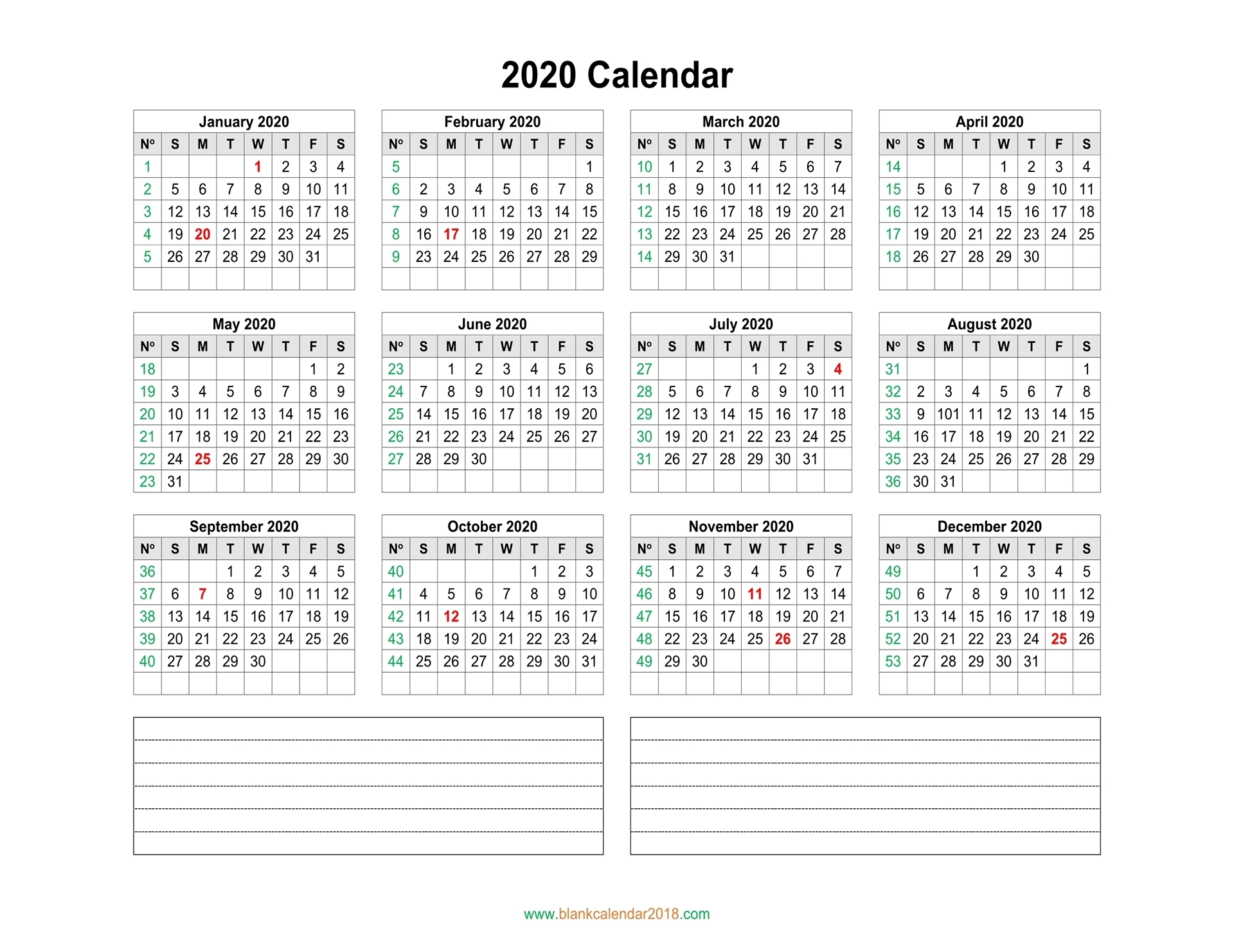 Blank Calendar 2020 throughout Yearly Monday To Sunday Calendar 2020 With Week Numbers