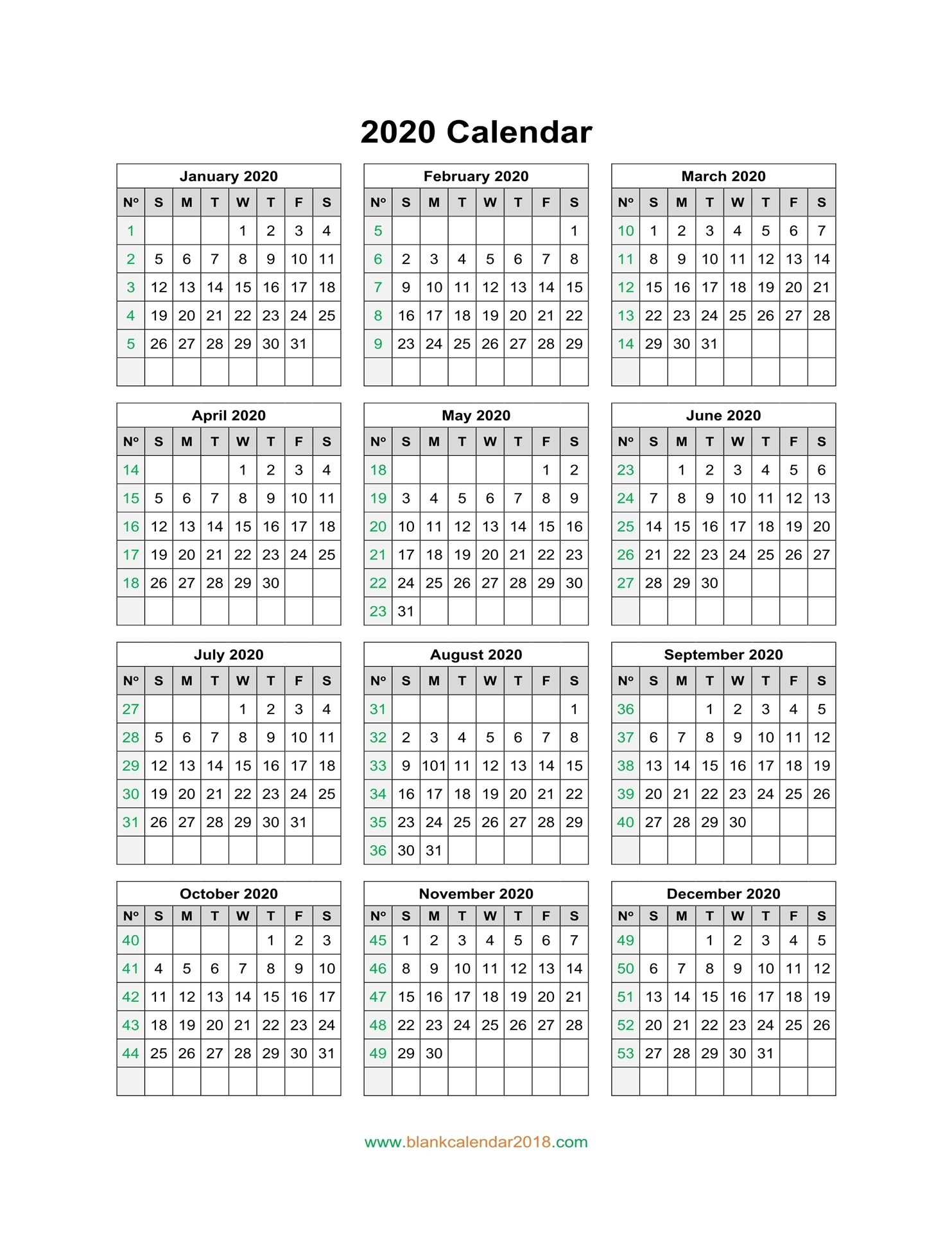 Blank Calendar 2020 with 2020 Free Year Printable Calendars Without Downloading