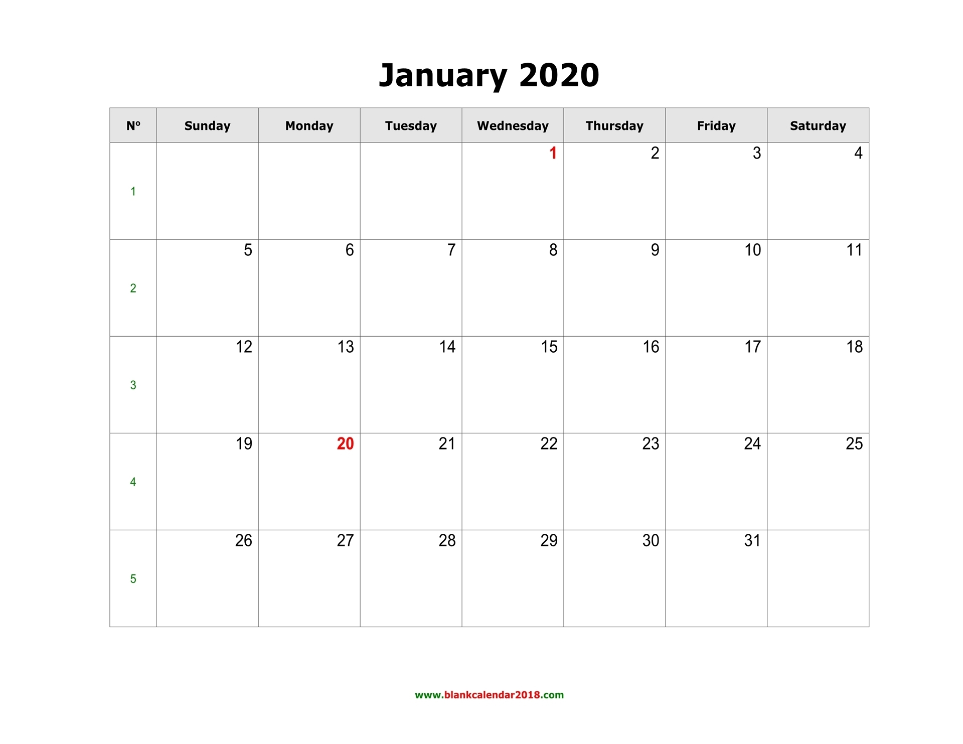 Blank Calendar 2020 with Calender 2020 With Space To Write