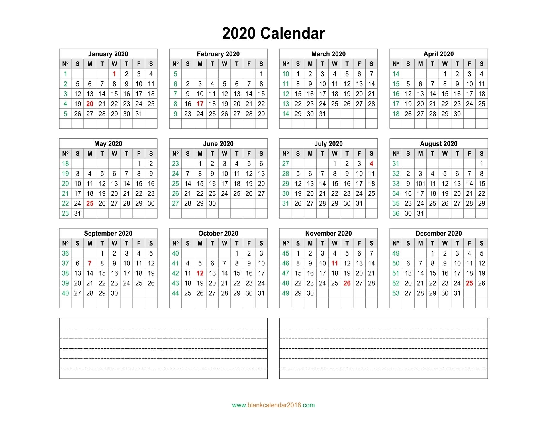 Blank Calendar 2020 with regard to 2020 Calendar With Week Numbers Printable