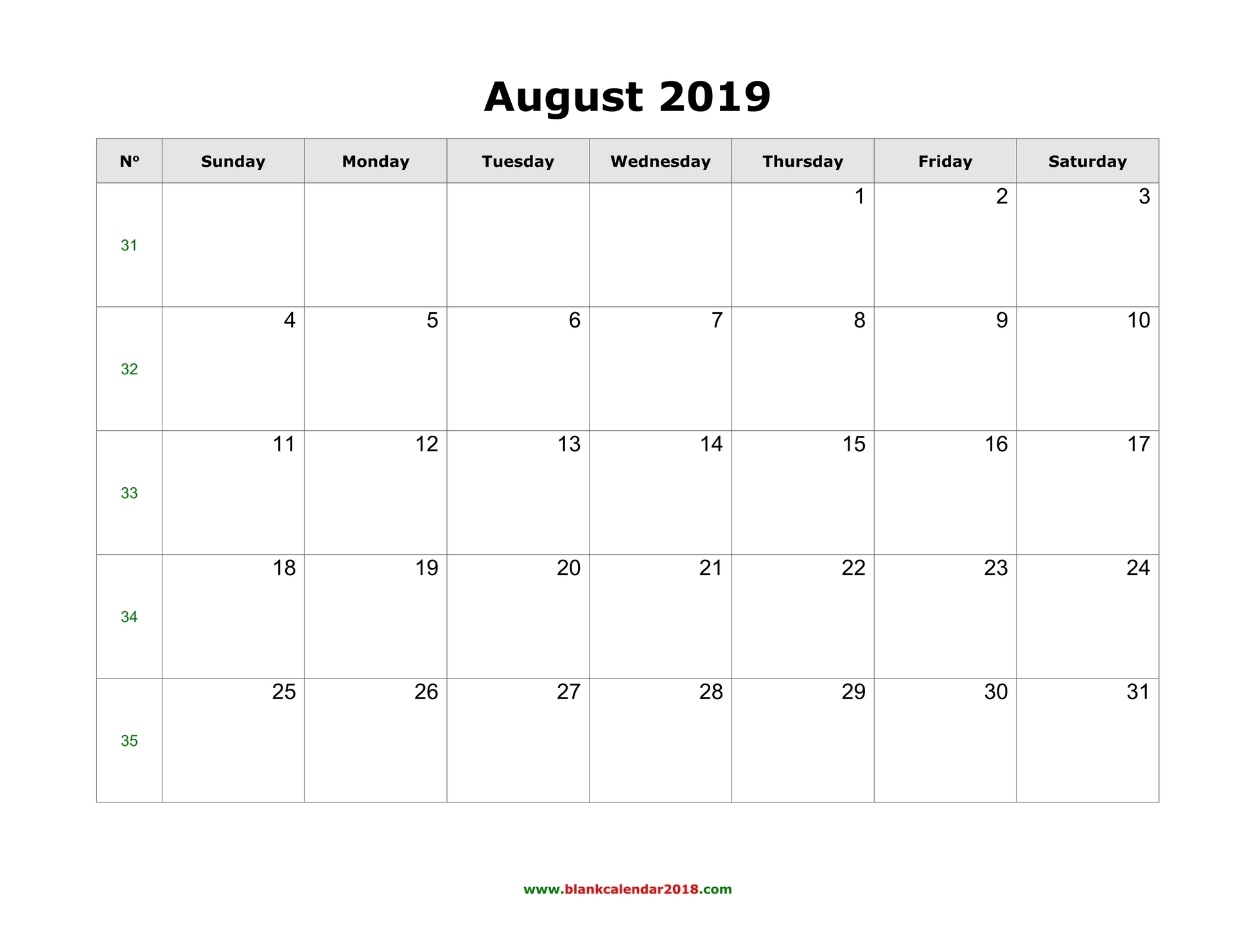Blank Calendar For August 2019 in Printable Calendar With Space To Write