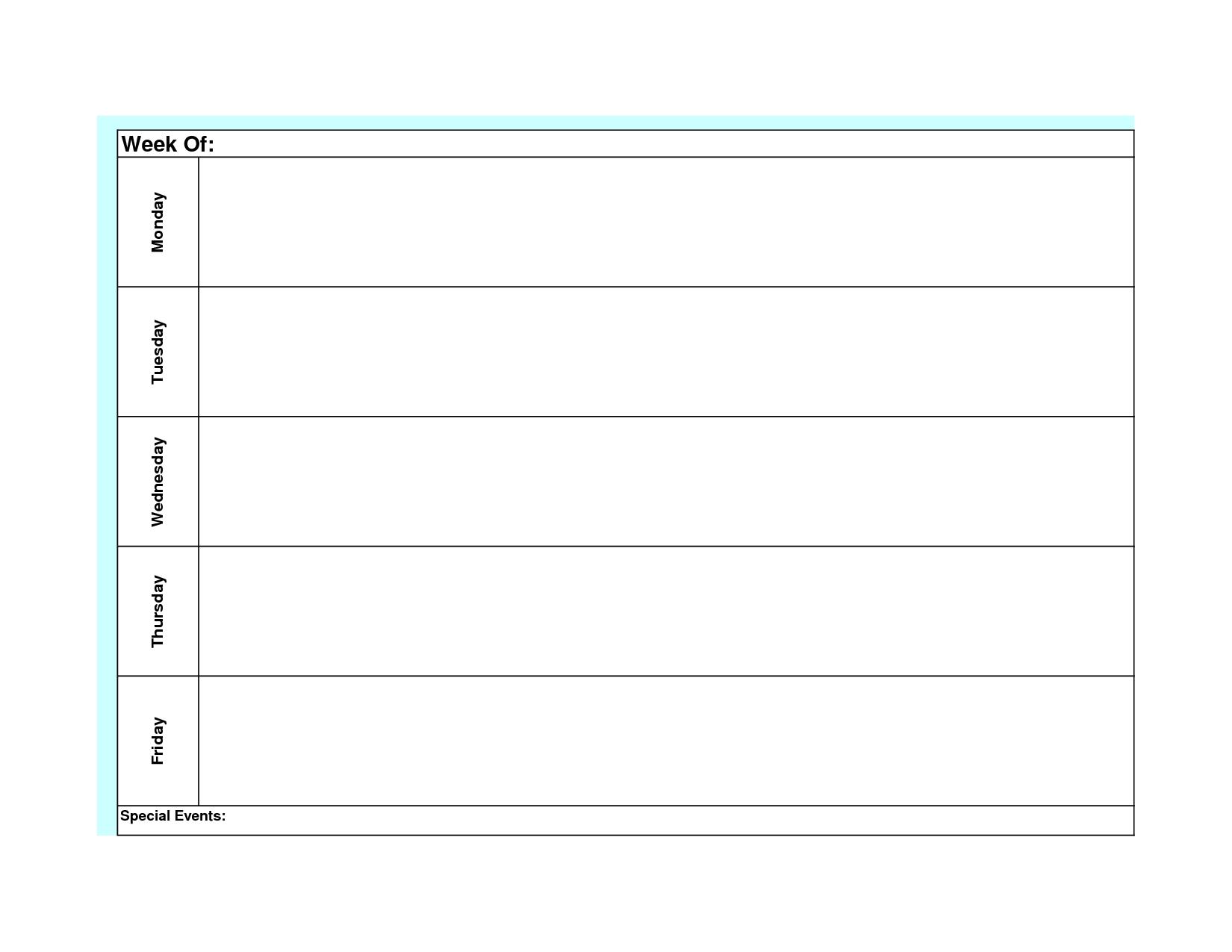 Blank Weekly Calendar Template Monday Friday   Weekly for Blank Monday Through Friday Schedule