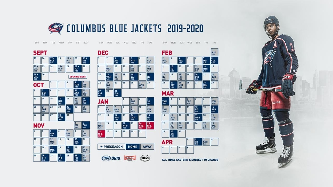 Blue Jackets Announce 2019-20 Regular Season Schedule pertaining to Nashille Predators 2019-2020 Calendar Printable