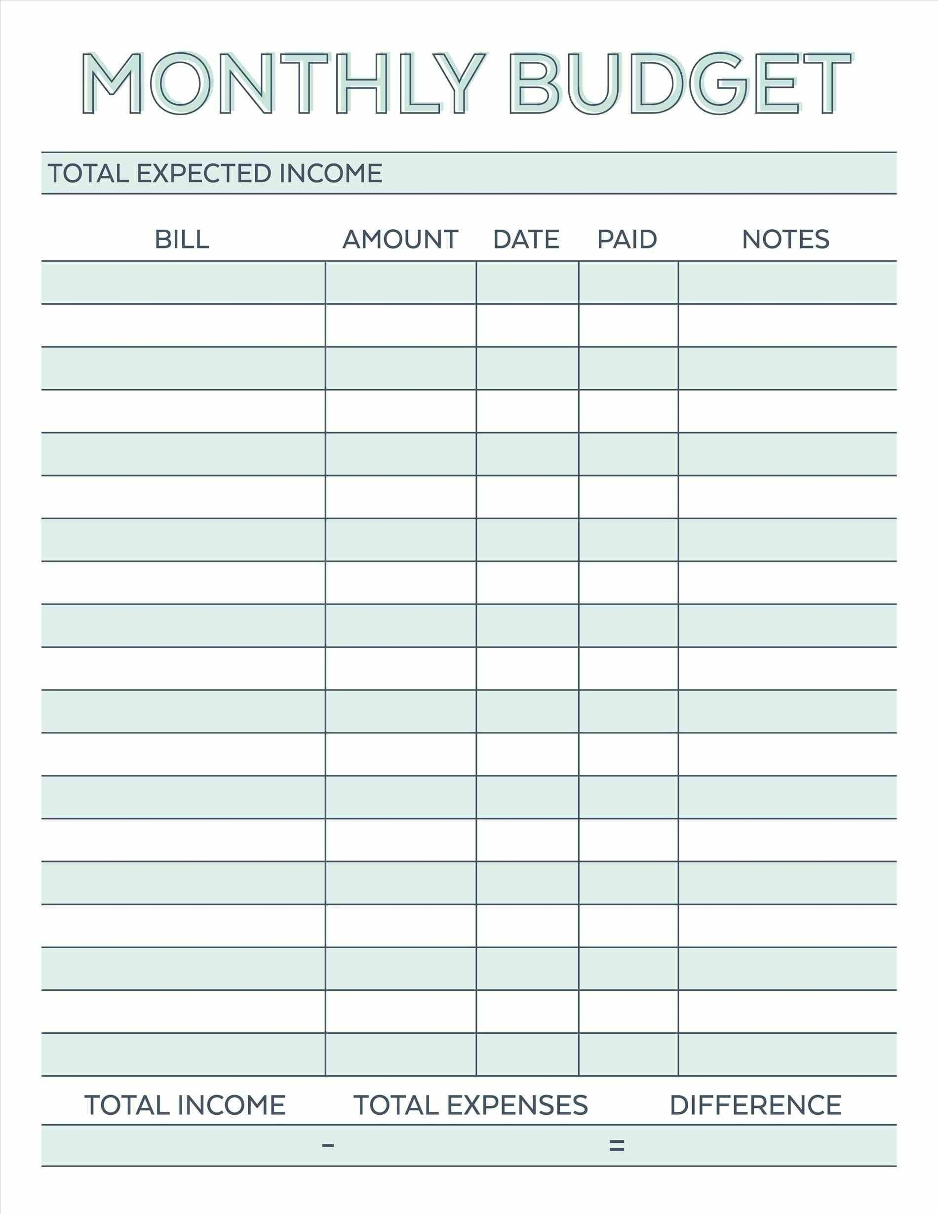 Budget Planner Planner Worksheet Monthly Bills Template Free within Bill Organizer Free Print Month Year