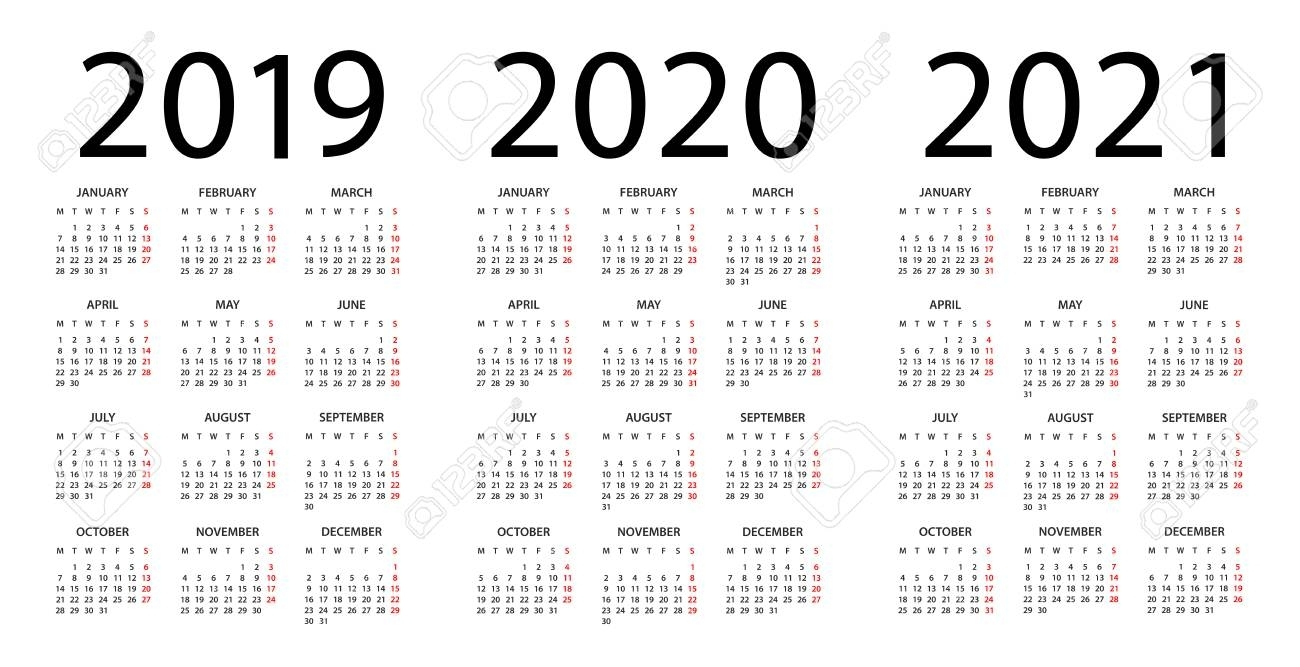 Calendar 2019 2020 2021 Year - Vector Illustration. Week Starts.. throughout Three-Year Calendar 2019 2020 2021