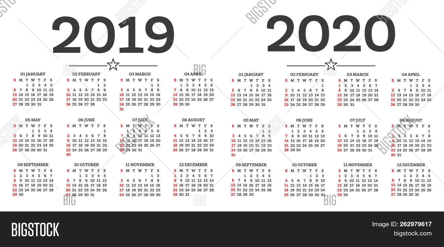 Calendar 2019 2020 Image & Photo (Free Trial) | Bigstock pertaining to Calendar 2019 2020 With Week Number