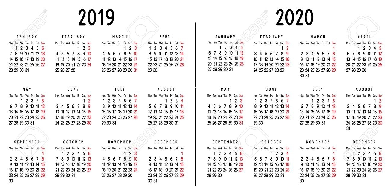 Calendar 2019 And 2020. Week Starts From Monday. Vector Illustration. with Calender For 2020 Week Wise