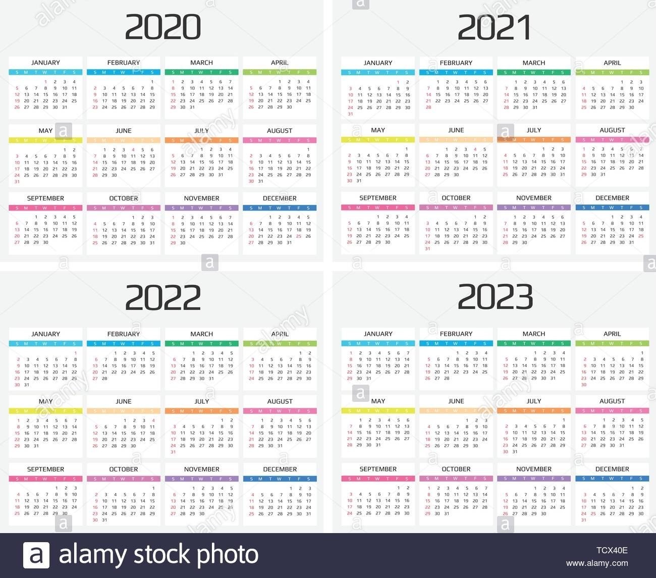 Calendar 2020, 2021, 2022, 2023 Template. 12 Months. Include for Calendar For 2020 To 2023