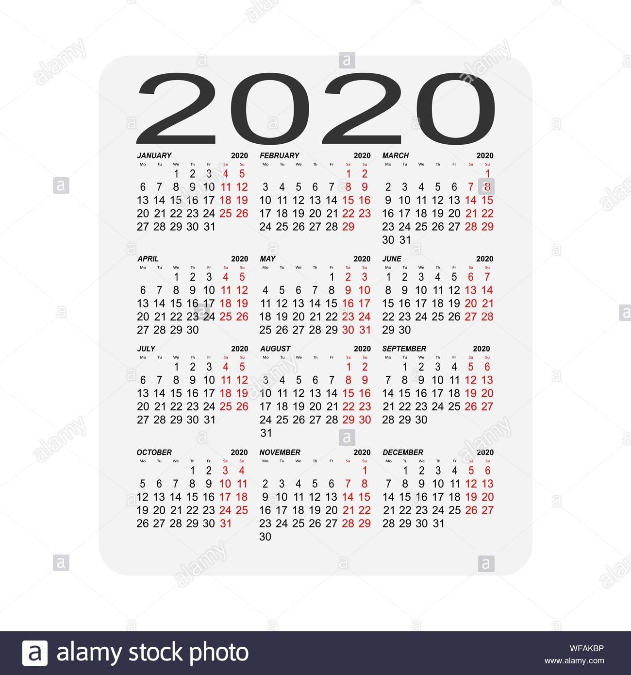 Calendar 2020. Calendar Sheet. Two Days Off A Week Stock for Special Days In 2020 Calendar