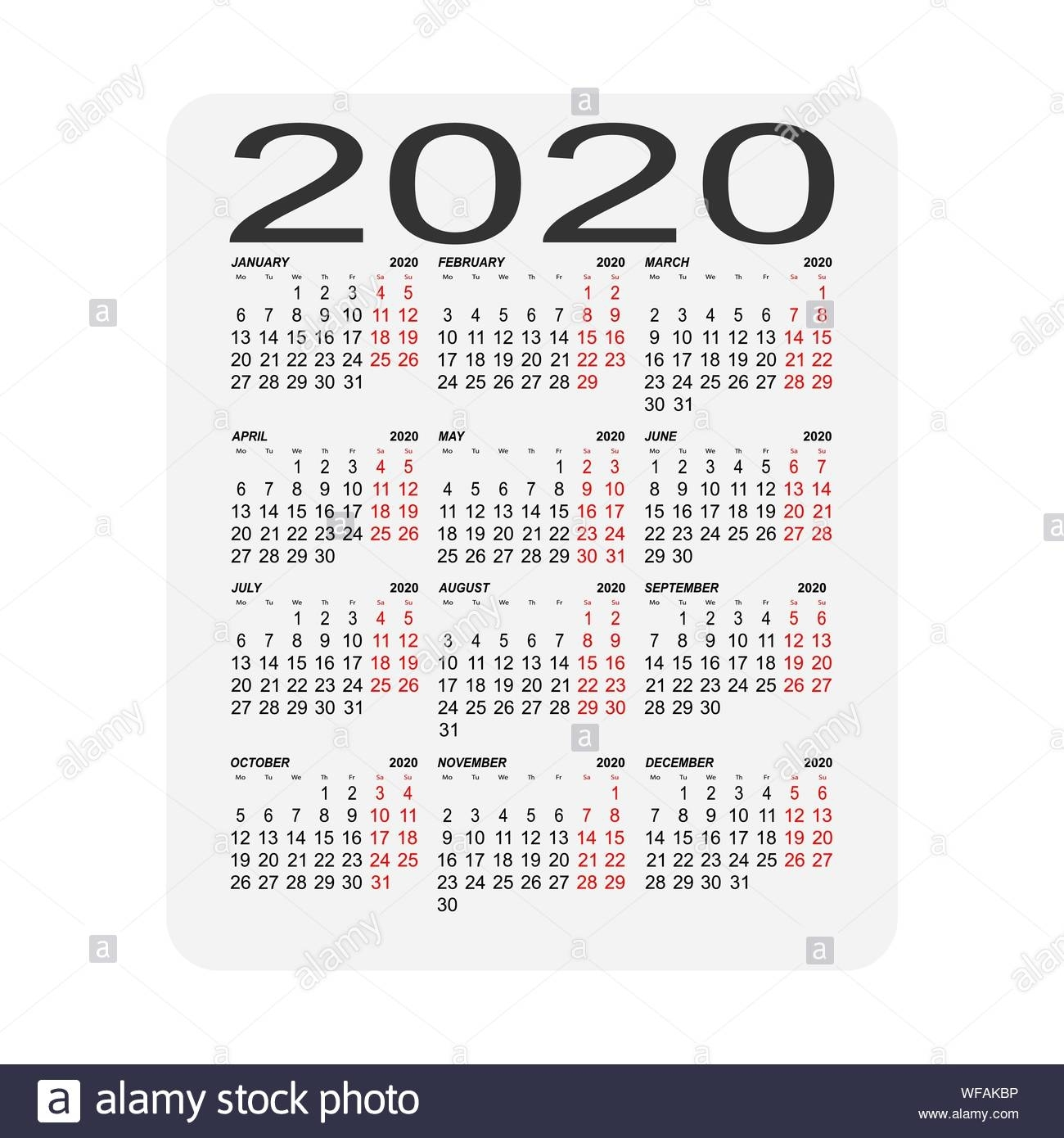 Calendar 2020. Calendar Sheet. Two Days Off A Week Stock pertaining to 2020 Calendar With Special Days