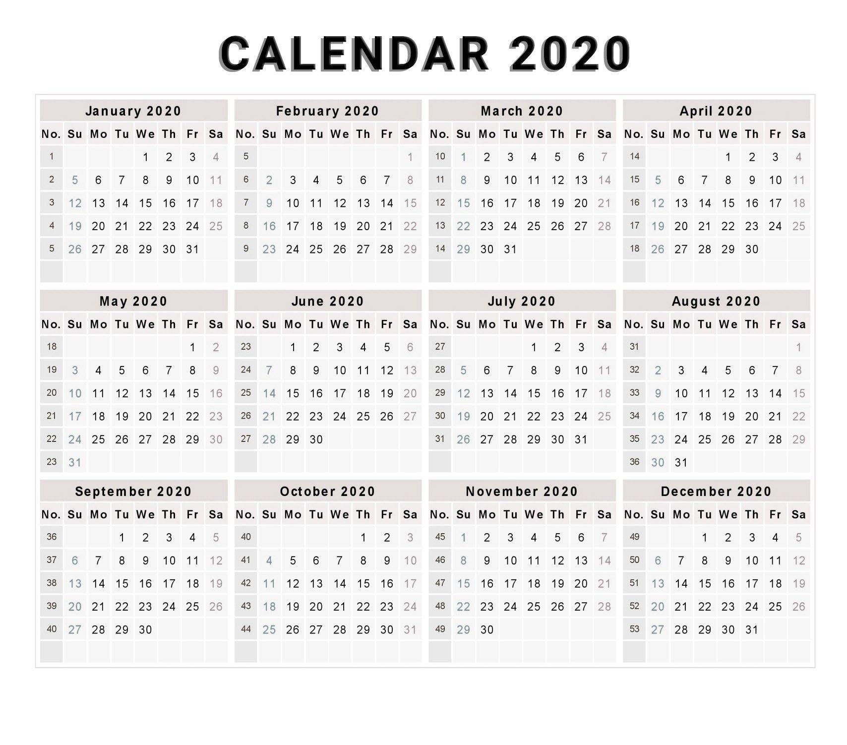Calendar 2020 Free Printable Calendar 2020 Free 2020 inside 2020 Calendar Weeks Numbered Excel