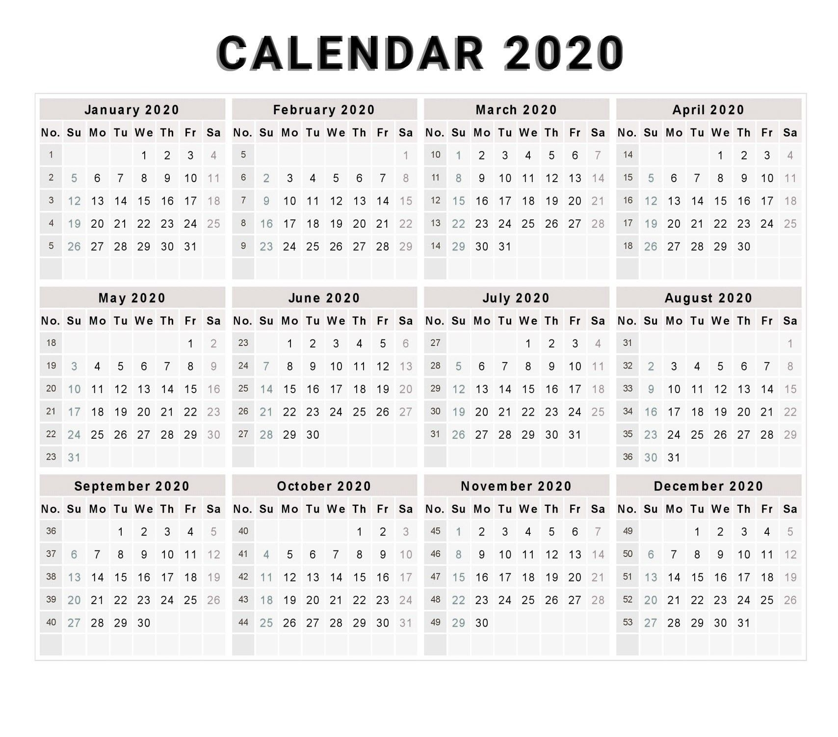 Calendar 2020 Free Printable Calendar 2020 Free 2020 pertaining to Yearly Monday To Sunday Calendar 2020 With Week Numbers