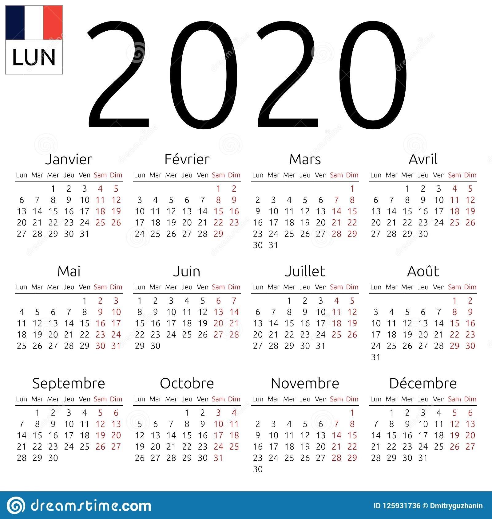 Calendar 2020, French, Monday Stock Vector - Illustration Of regarding Monday To Sunday 2020 Calendar