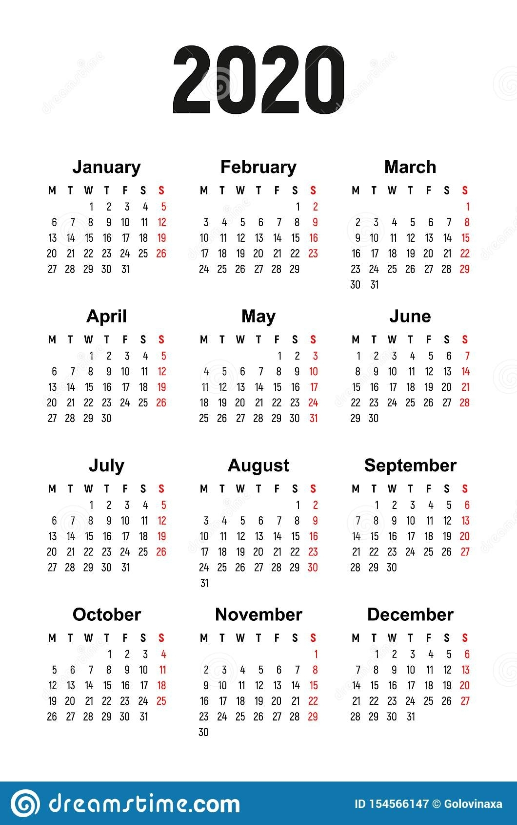 Calendar 2020, Week Starts On Monday Stock Vector inside Free Calendar 2020 Starting With Mondays