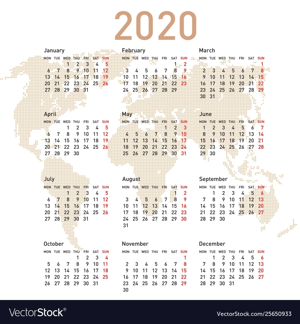 Calendar 2020 With World Map Week Starts On Monday with regard to 2020 Calendar Starting On The Monday