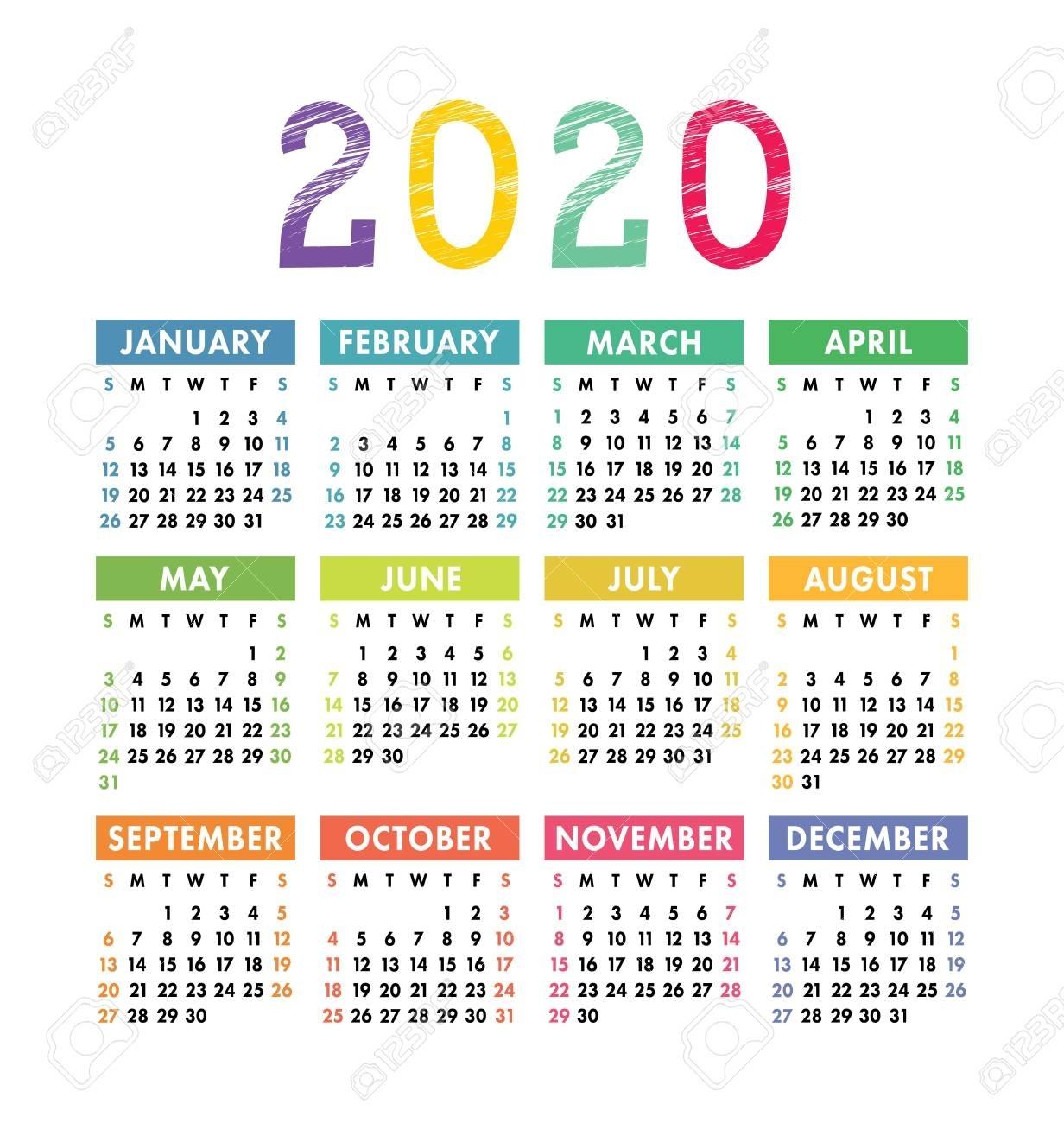 Calendar 2020 Year. Vector Pocket Or Wall Calender Template inside 2020 Pocket Size Calendar Free