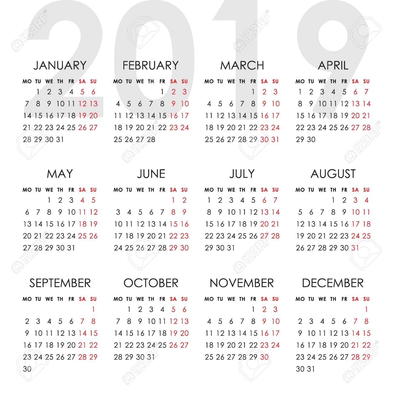 Calendar For 2019 Year Isolated On A White Background. Week Starts.. with Calendar 2019 Monday To Sunday