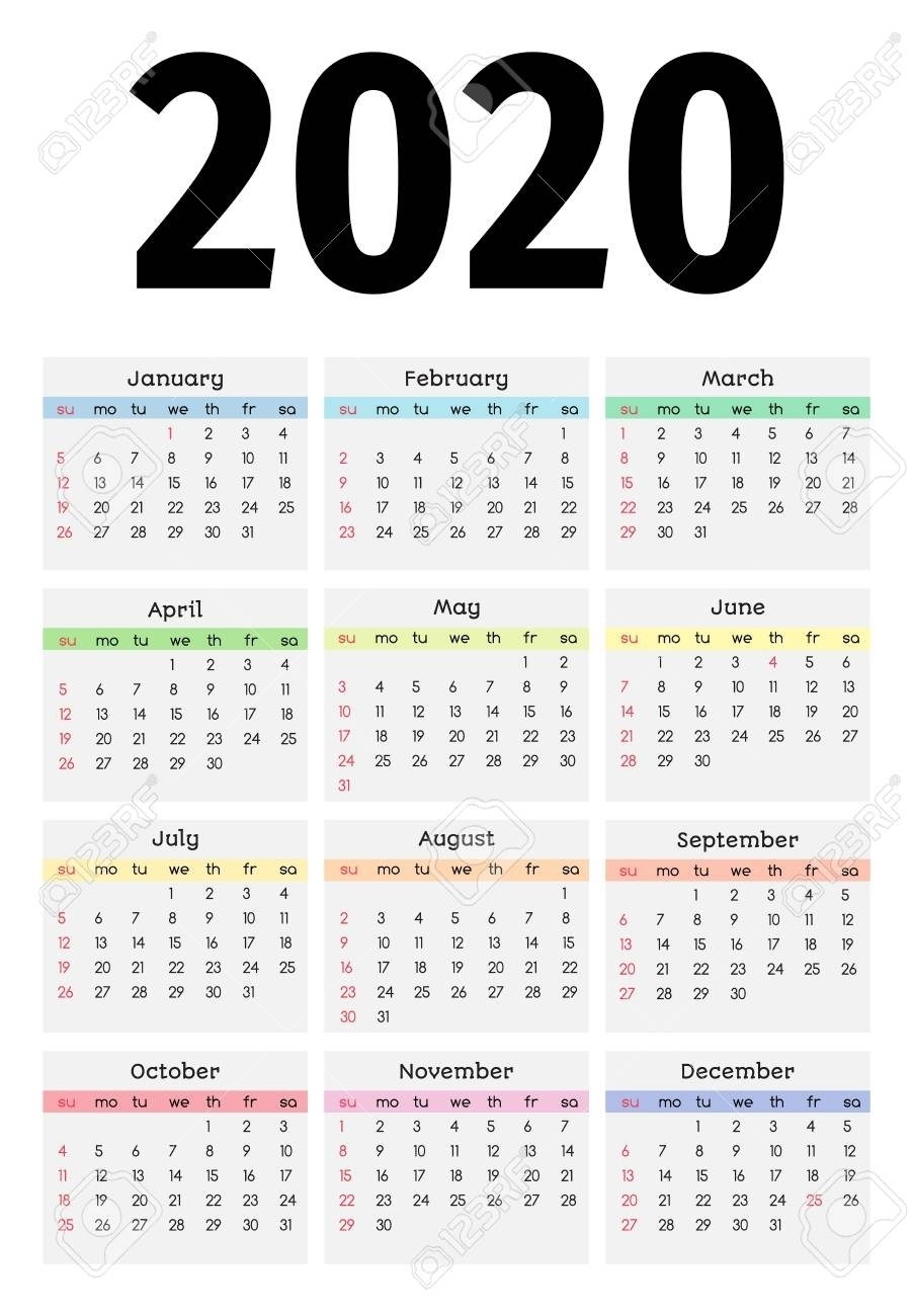 Calendar For 2020 Isolated On A White Background. Sunday To intended for Calendar 2020 Monday - Sunday