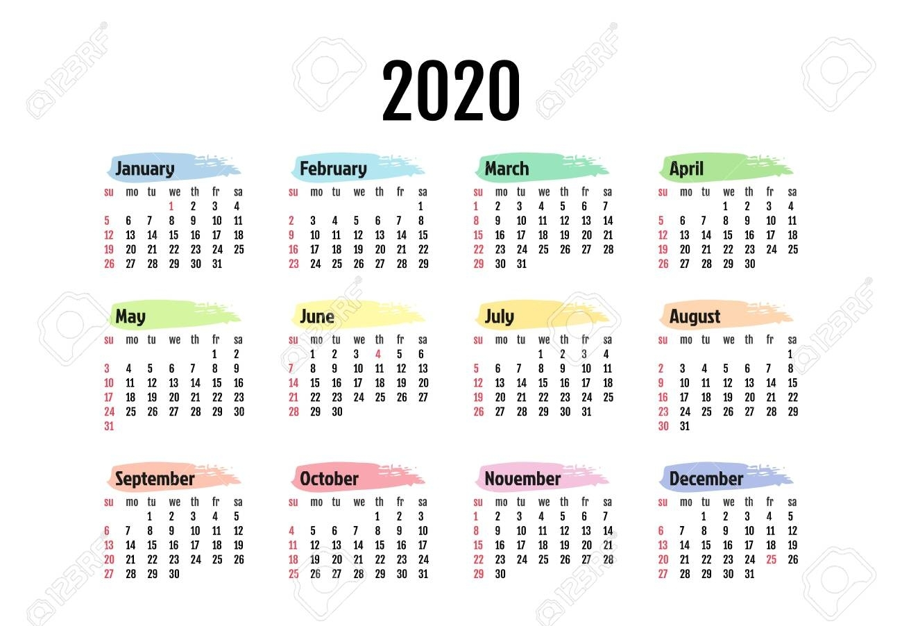 Calendar For 2020 Isolated On A White Background. Sunday To Monday,.. regarding 2020 Calendar Template Monday Sunday
