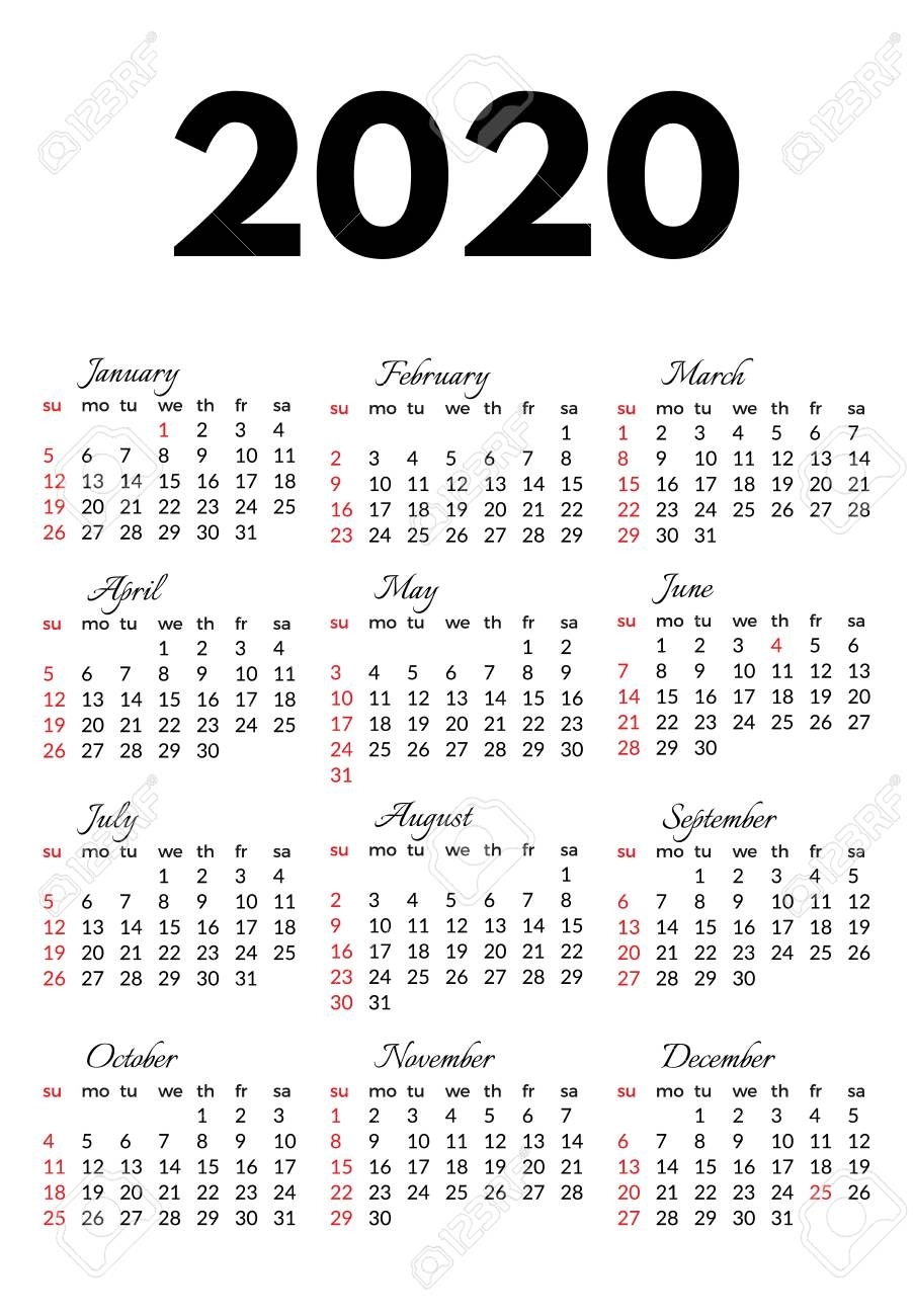 Calendar For 2020 Isolated On A White Background. Sunday To Monday,.. with Calendar 2020 Monday - Sunday