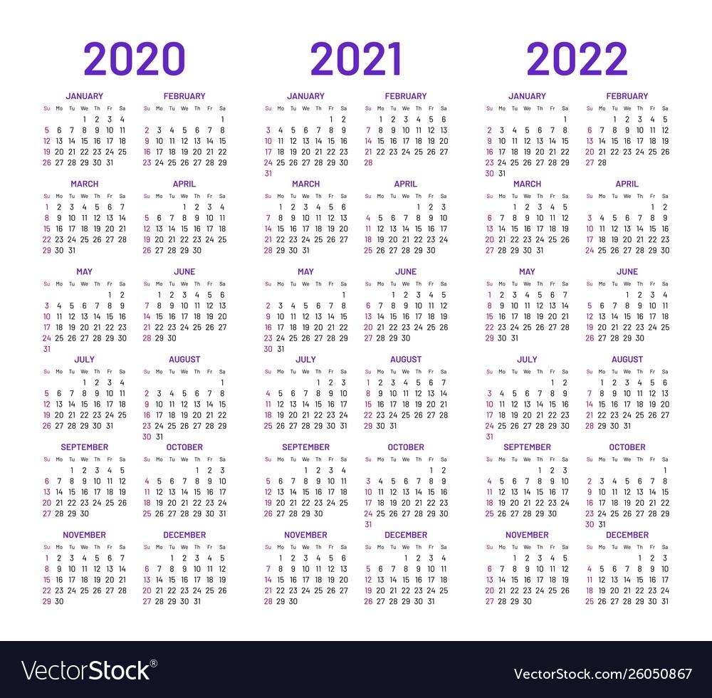 2020 - 2022 Printable Calendar - Calendar Inspiration Design