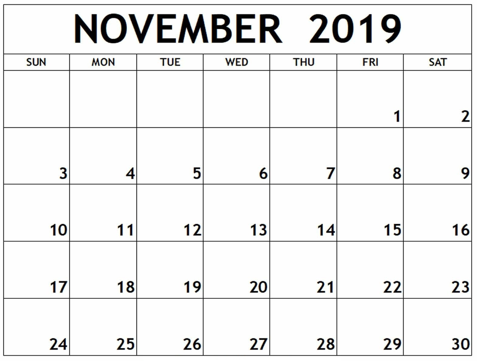 Calendar November 2019 Printable Template - 2019 Calendars throughout Printable Calendar With Space To Write