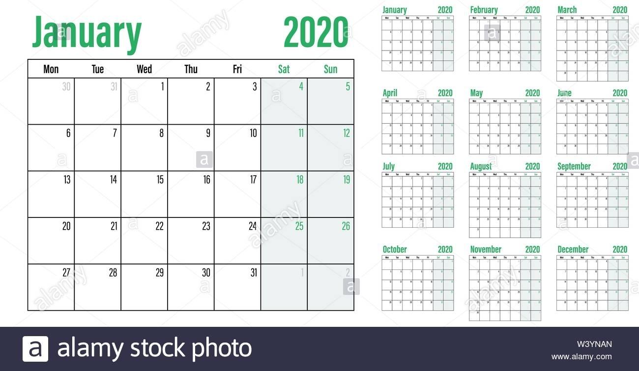 Calendar Planner 2020 Template Vector Illustration All 12 in Calendar 12-Com 2020 Monday Start