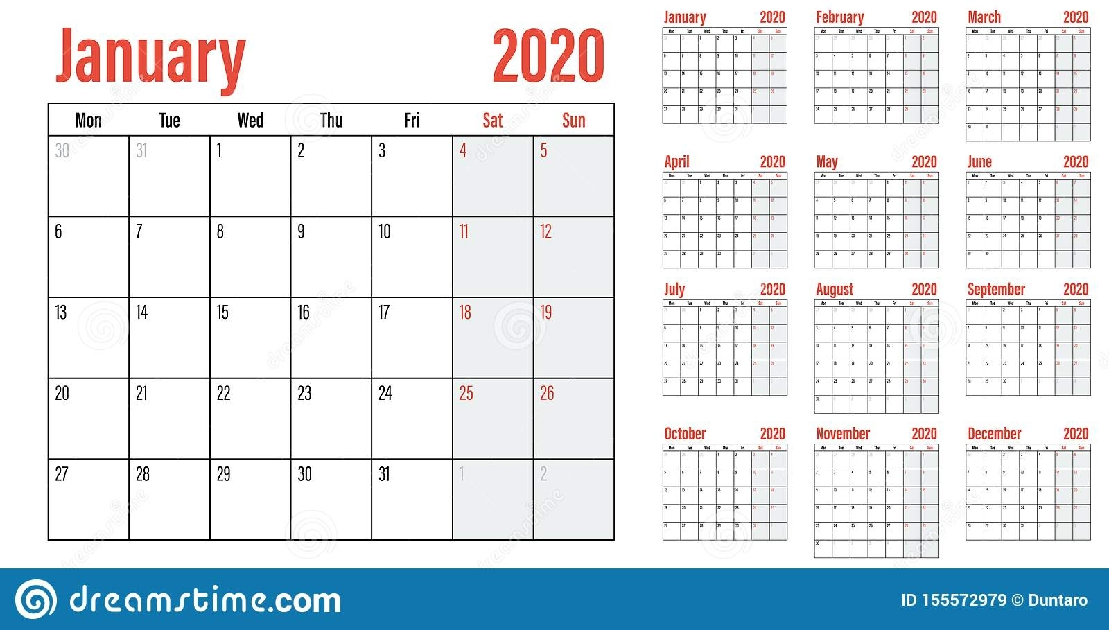 Calendar Planner 2020 Template Vector Illustration Stock throughout 2020 12 Month Monday To Sunday Calendar Template