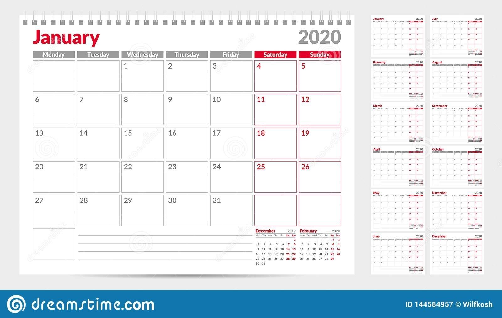 Calendar Planner Template 2020. Week Start From Monday. Set throughout Calendar 12-Com 2020 Monday Start