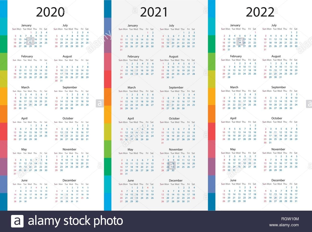 Calendar Template Set For 2020, 2021, 2022 Years. Week in Printable Calendar Or 2020 And 2021 Monday To Sunday