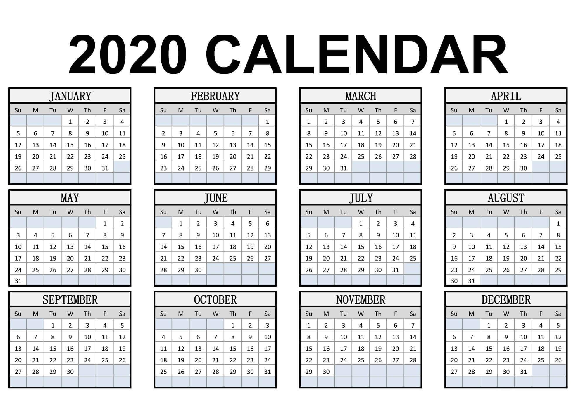 Calendar Year 2020 Holidays Template - 2019 Calendars For in Calander At A Glance 2020 Excel