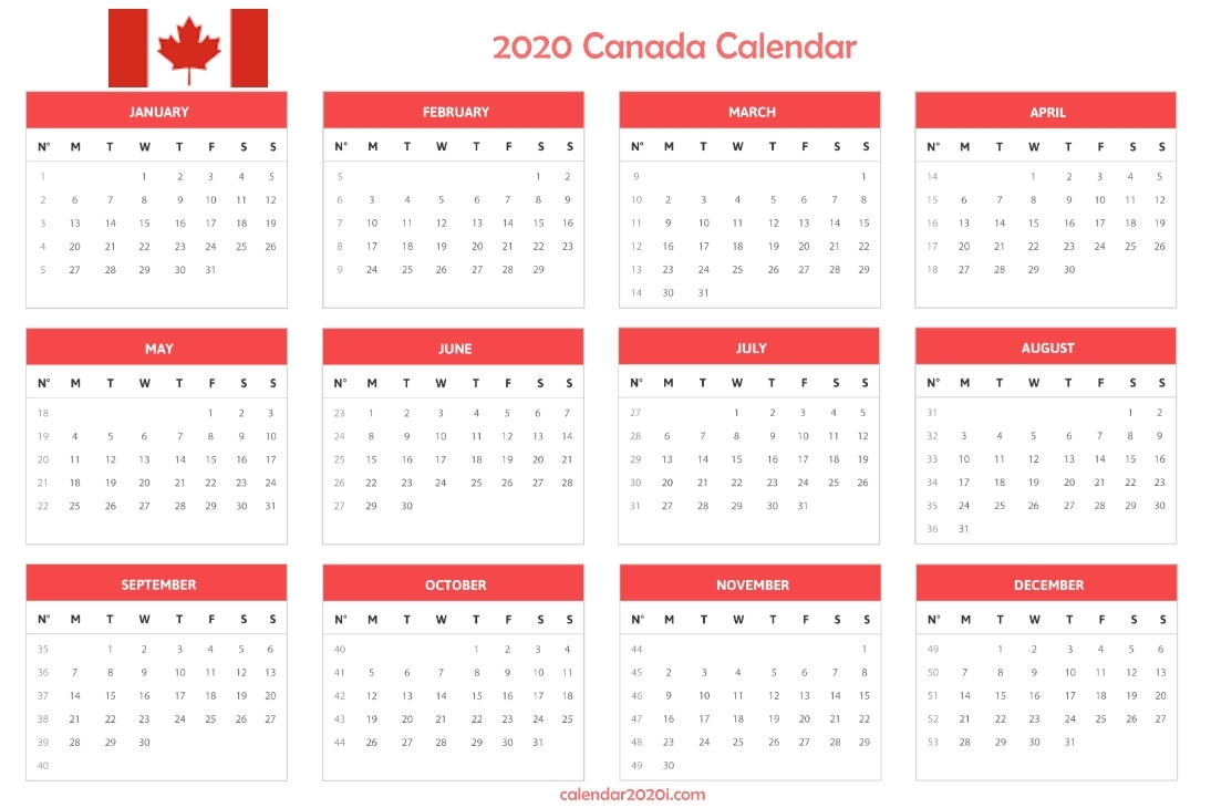 Canada 2020 Printable Calendar With Holidays, Word, Excel with regard to Free Printable 2020 Canadian Calendar Motivational