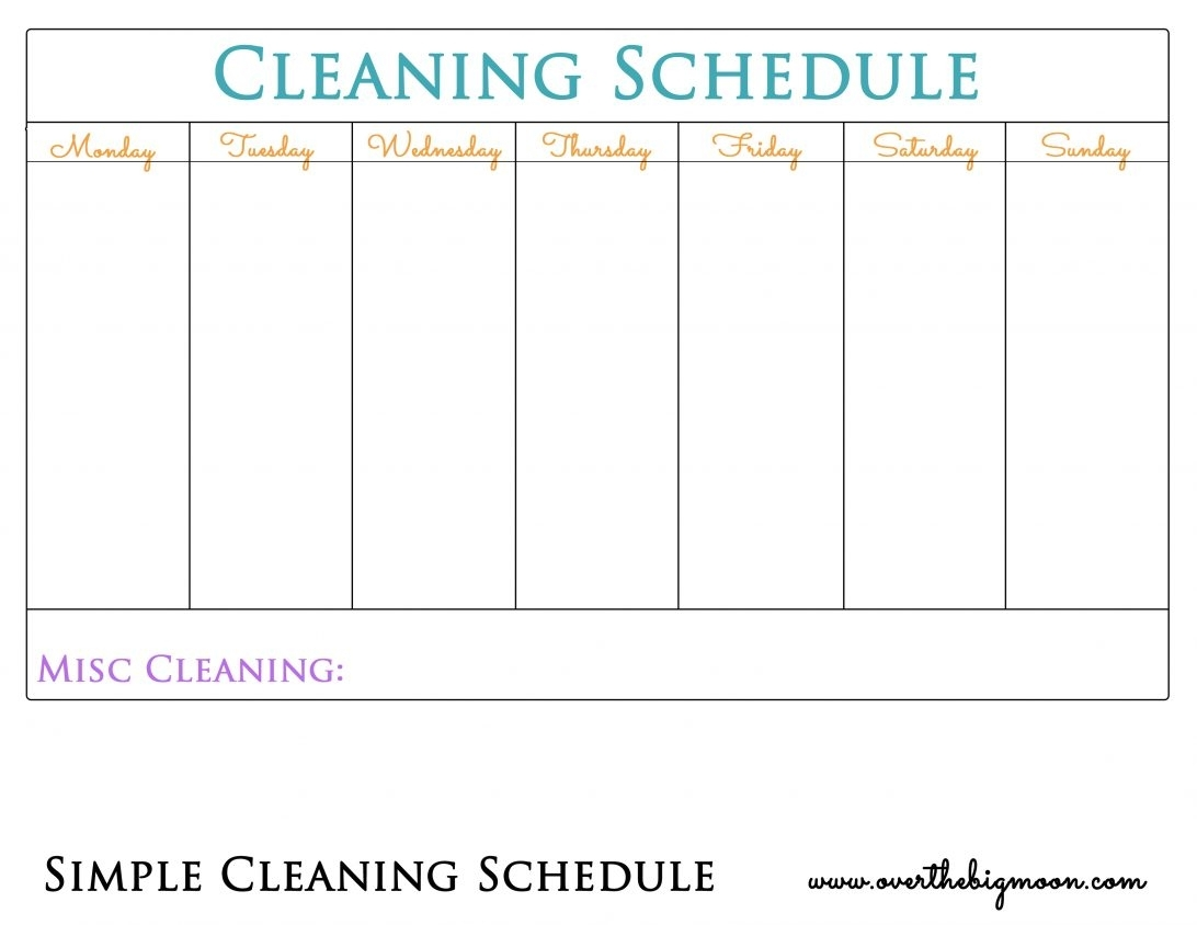 Chore Chart For Adults Household Charts Pdf Blank Printable with Printable Monday Through Friday Chart