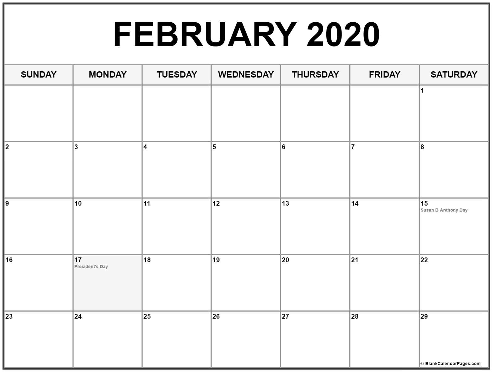 Collection Of February 2020 Calendars With Holidays in 2020 Calendar With All Function