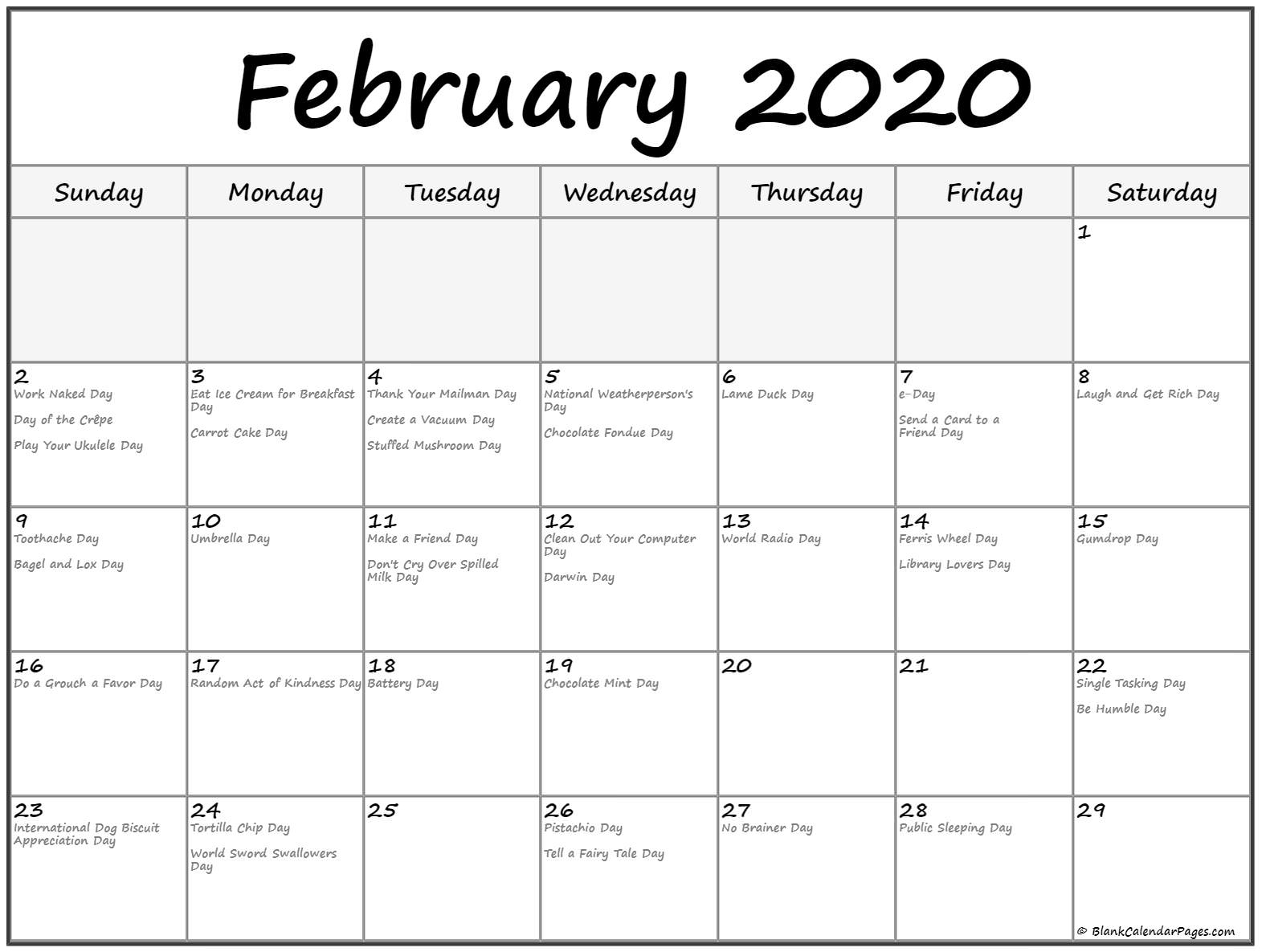 Collection Of February 2020 Calendars With Holidays within National Day Calendar 2020 Printable List