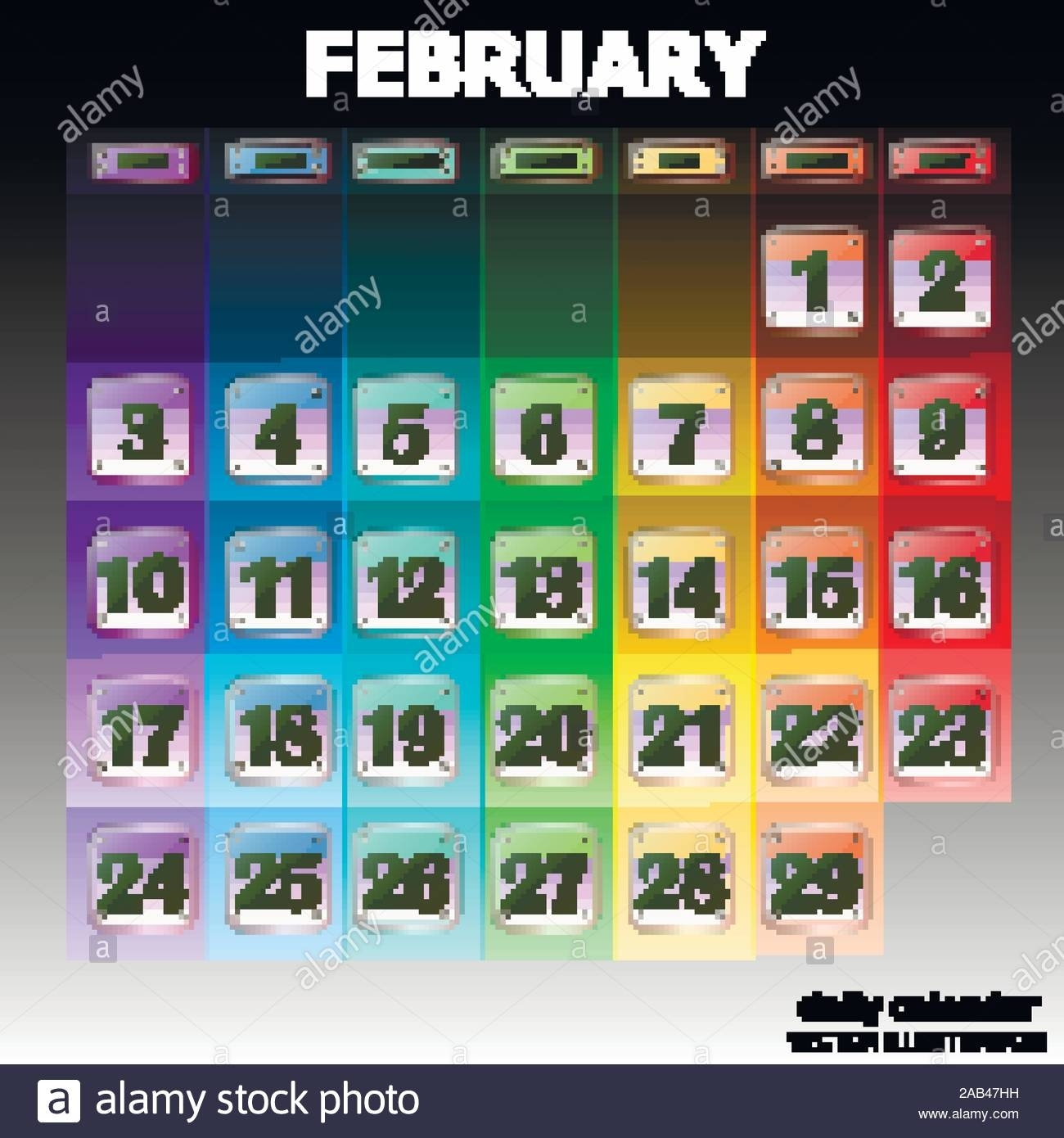 Colorful Calendar For February 2020 In English. Set Of in Special Days By Month In 2020