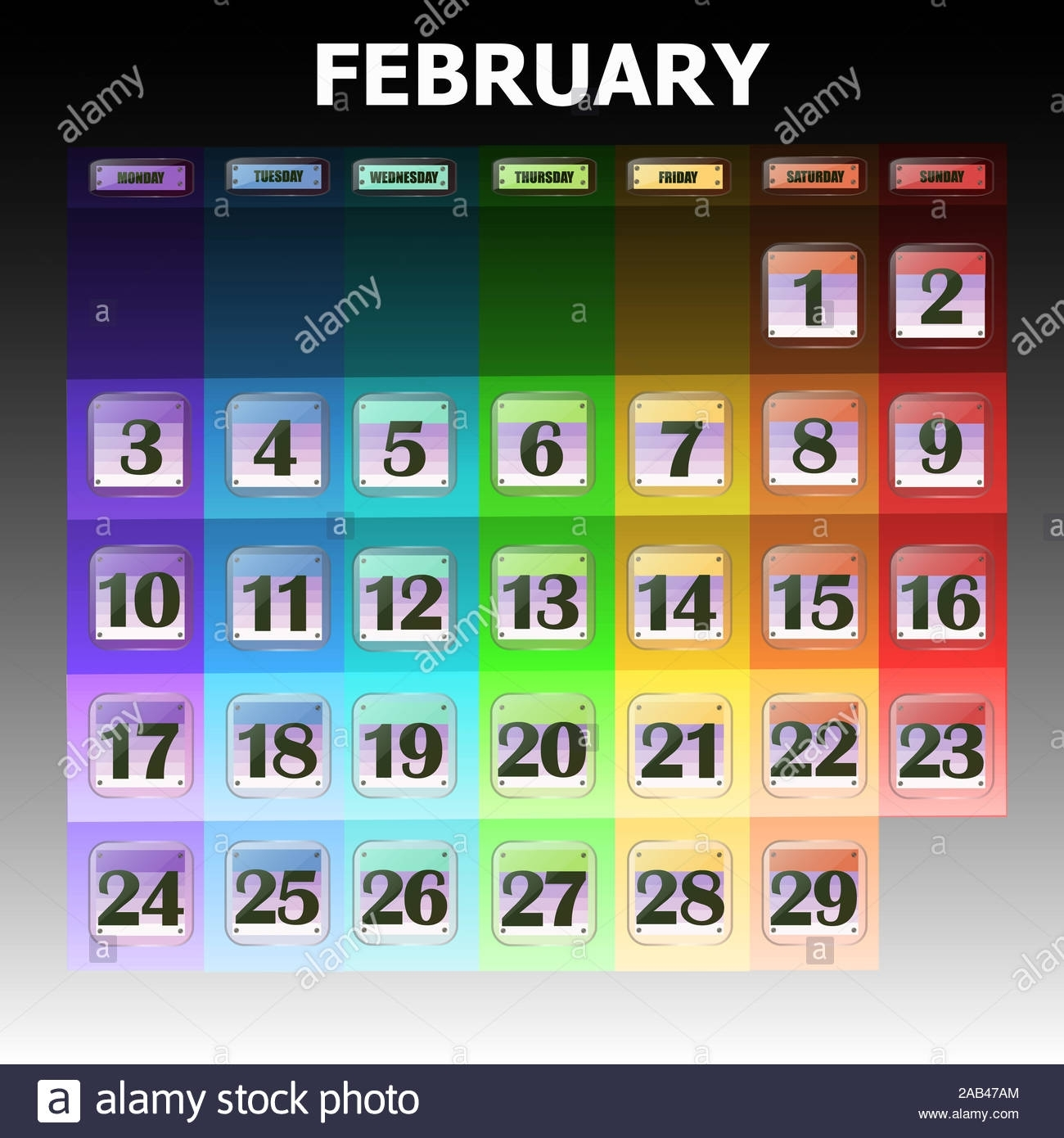 Colorful Calendar For February 2020 In English. Set Of throughout What Are The Special Days In 2020