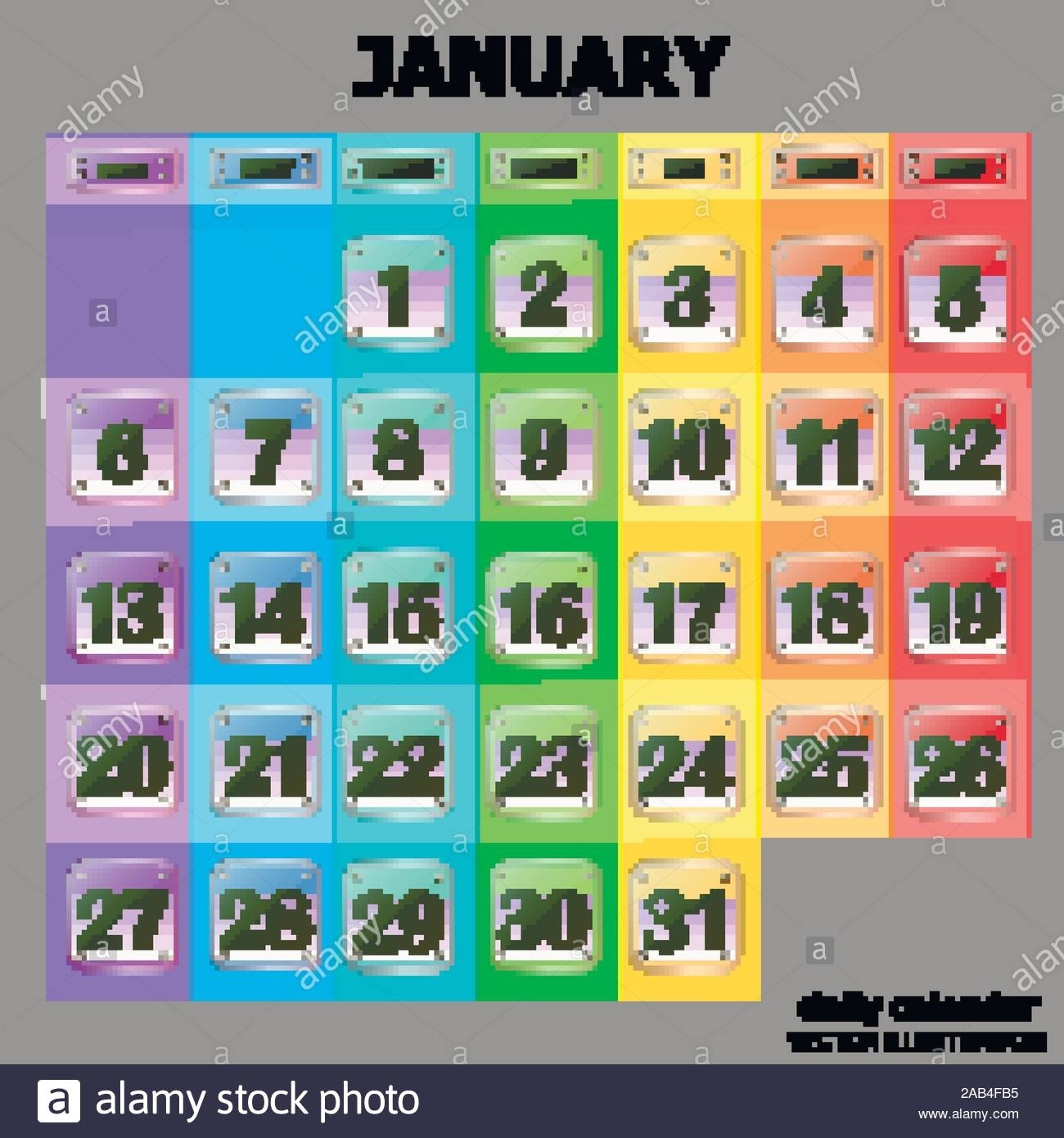 Colorful Calendar For January 2020 In English. Set Of pertaining to What Are Special Days In 2020