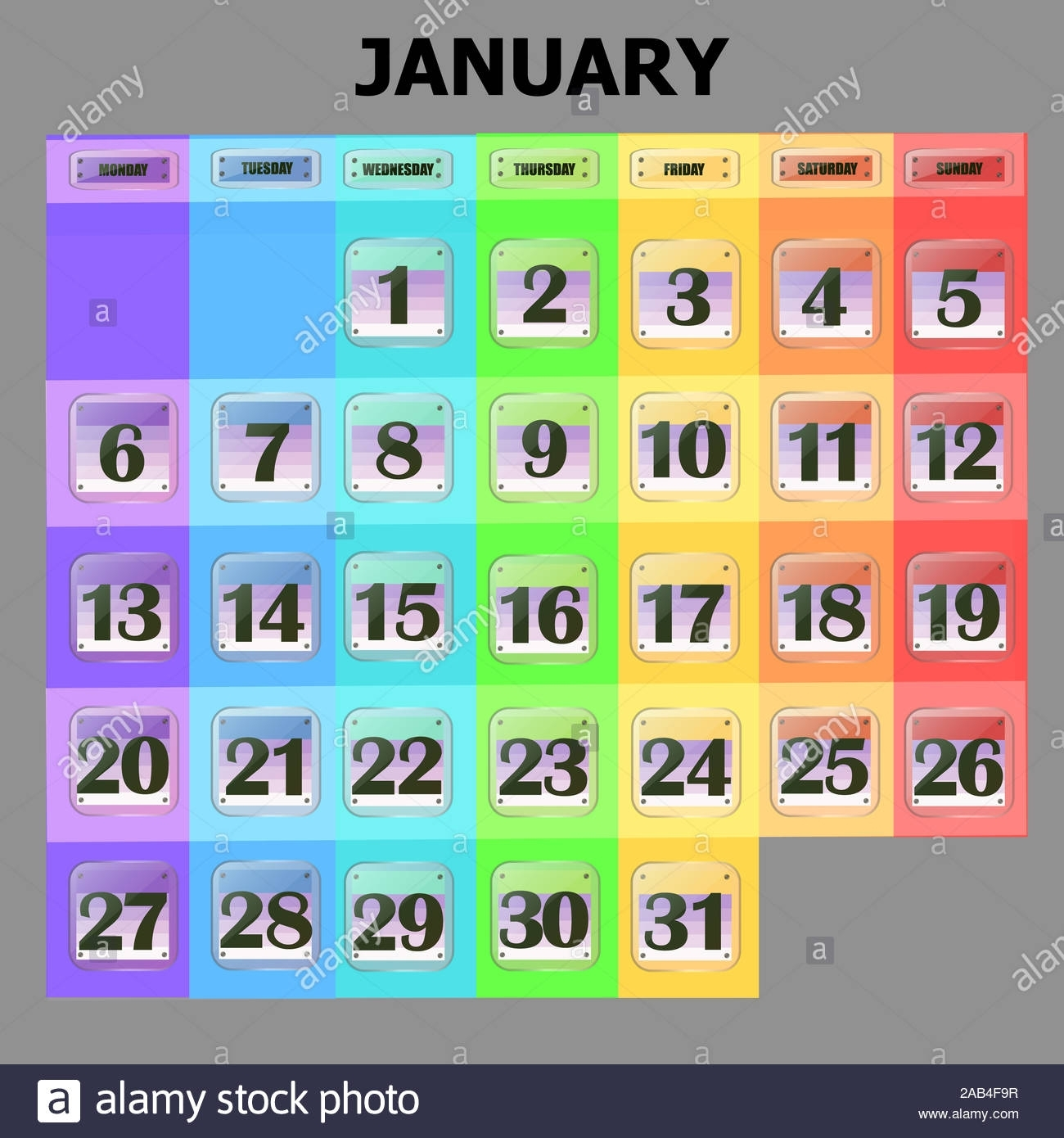 Colorful Calendar For January 2020 In English. Set Of regarding Special Days By Month In 2020