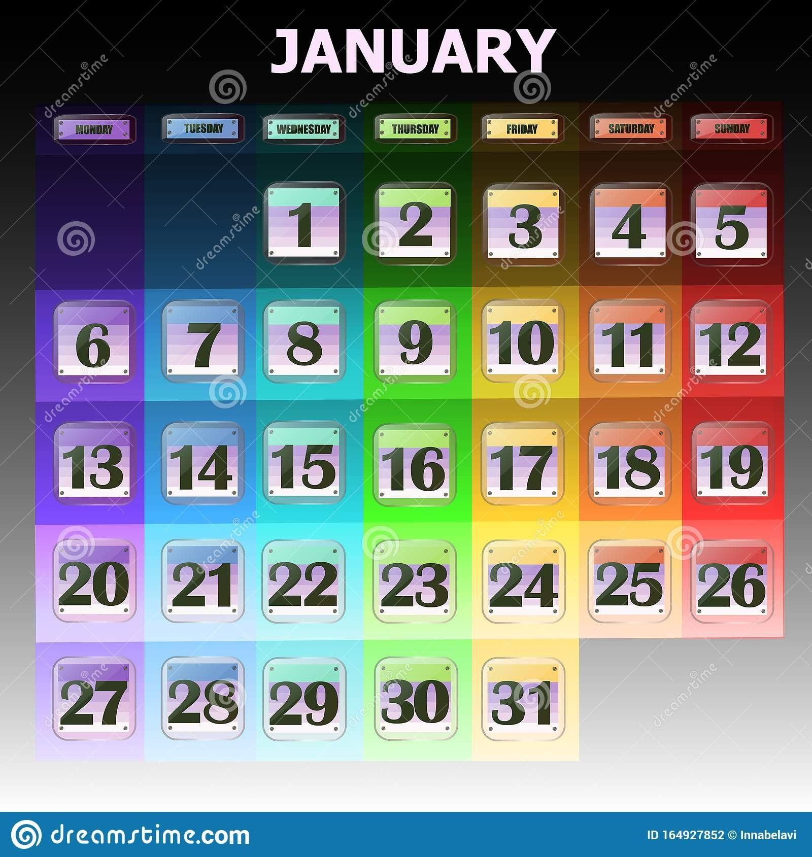 Colorful Calendar For January 2020 In English. Set Of with Special Days By Month In 2020