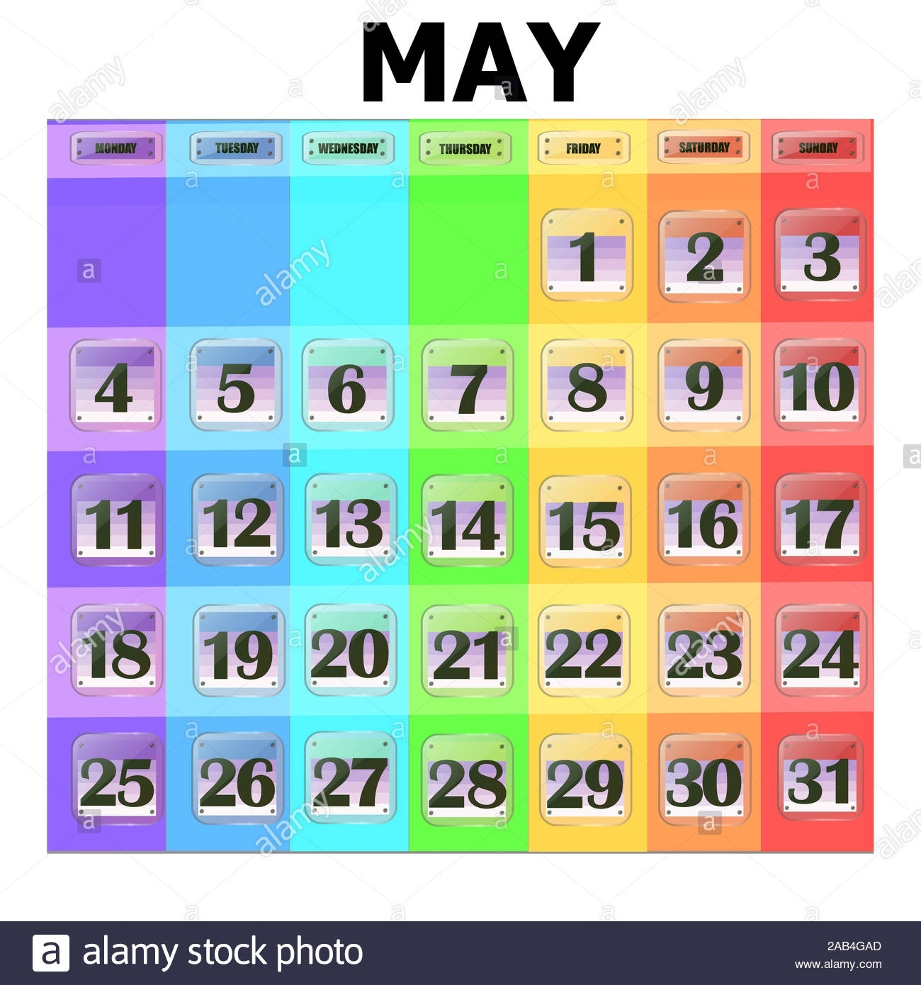 Colorful Calendar For May 2020 In English. Set Of Buttons for Special Days By Month In 2020