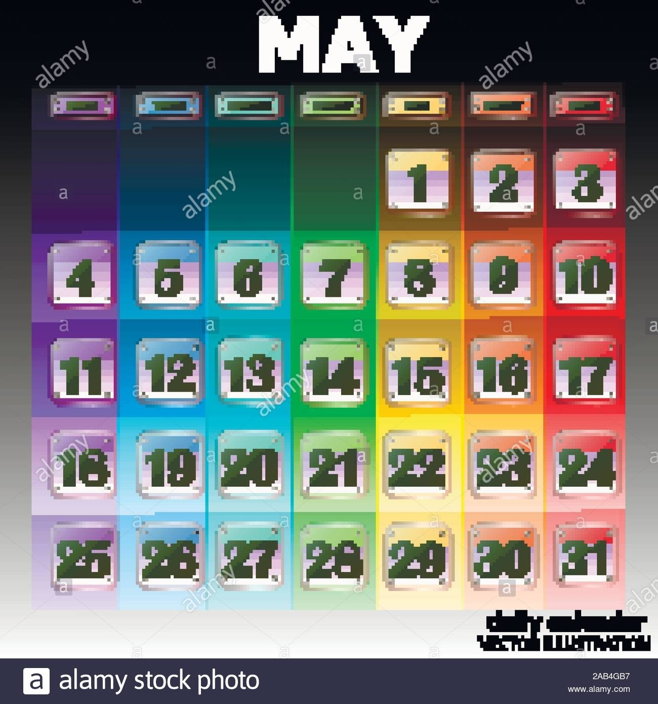 Colorful Calendar For May 2020 In English. Set Of Buttons throughout Special Days In Ht E Year 2020
