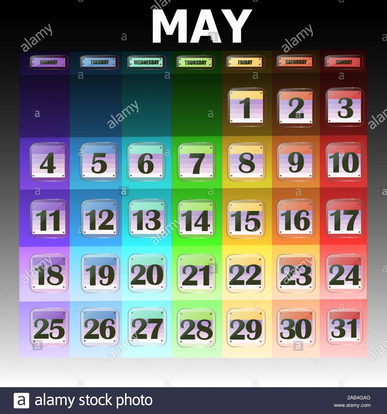Colorful Calendar For May 2020 In English. Set Of Buttons throughout What Are Special Days In 2020
