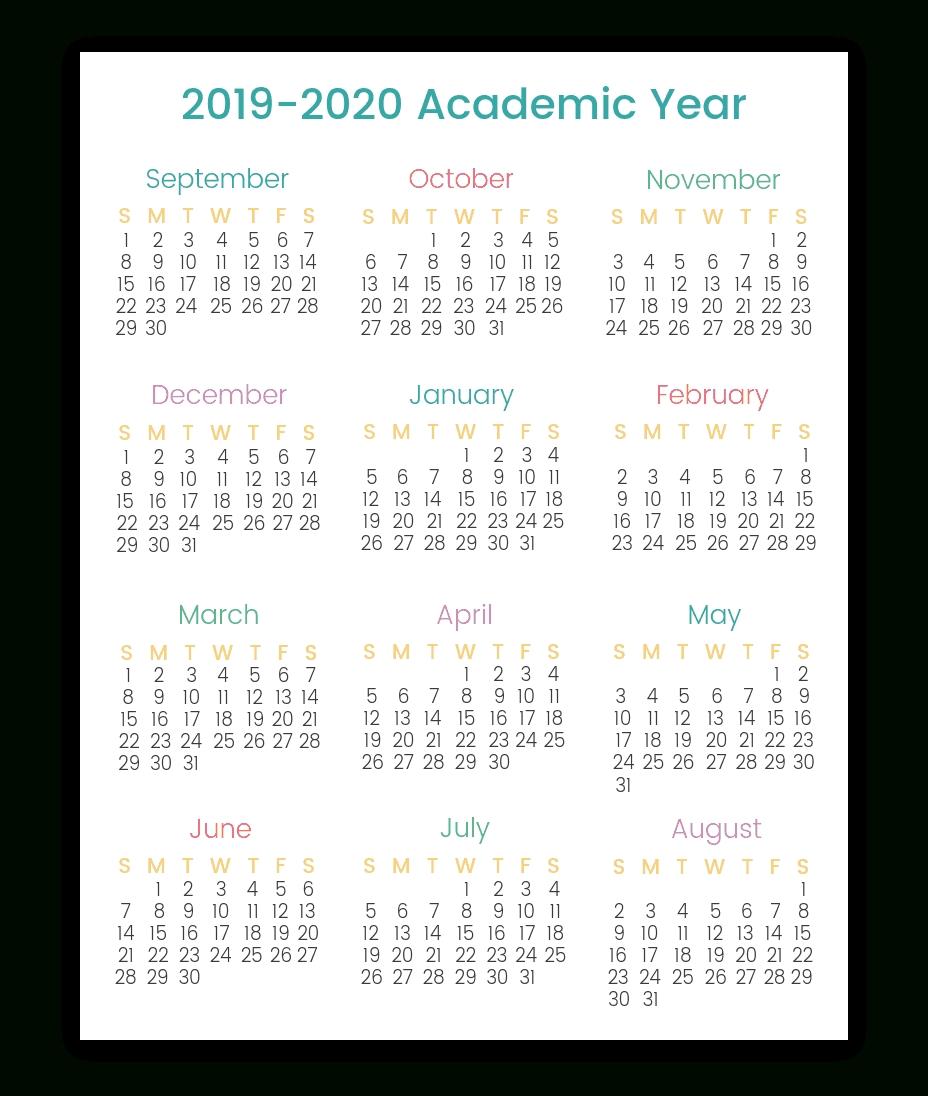 Colorful Printable Calendars For 2019-2020   Smart Living Mama regarding 2020 Year At A Glance Printable Calendar