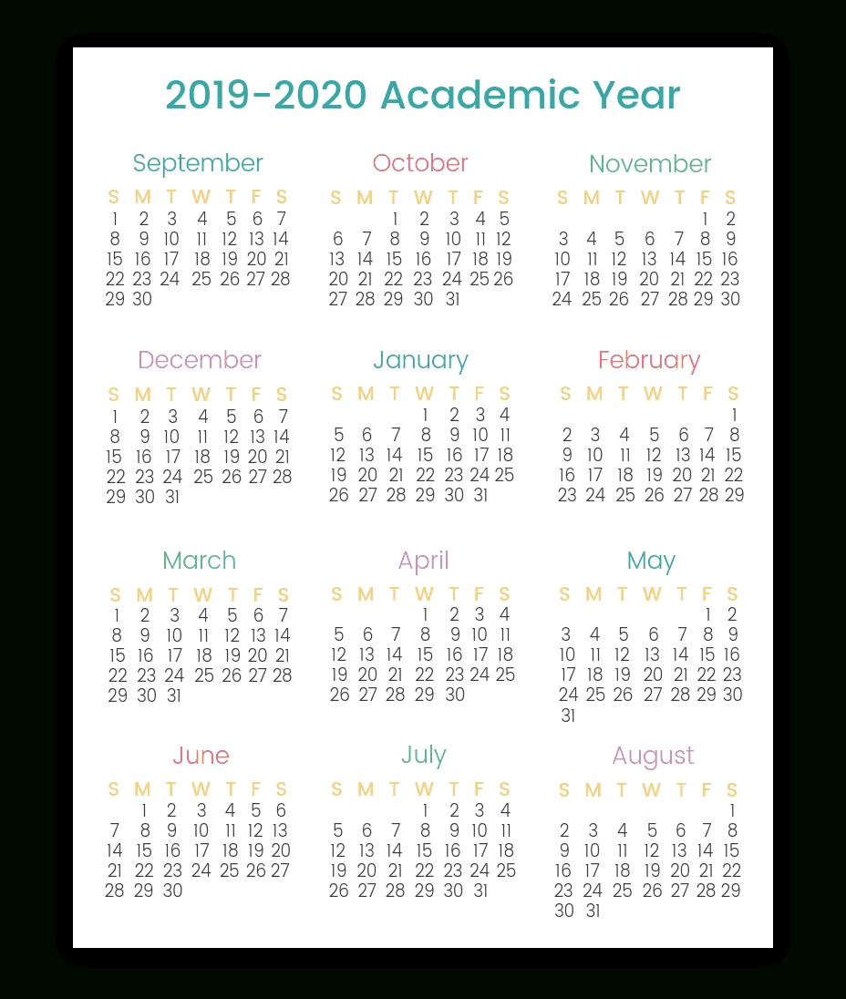Colorful Printable Calendars For 2019-2020 | Smart Living Mama throughout 2020 Year At A Glace Attendance Calendar