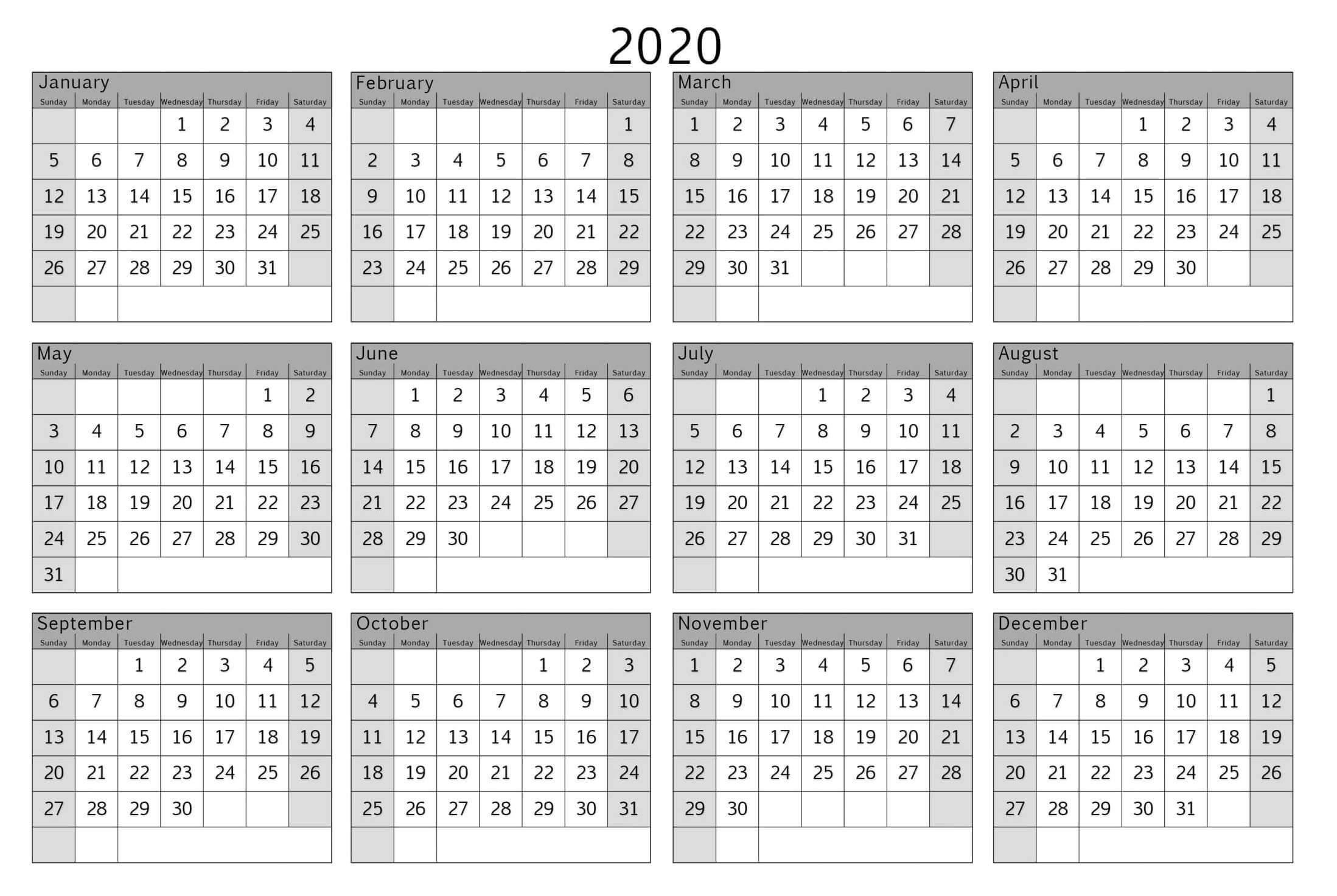 Colorful Yearly Calendar Template With Notes 2020 Word - Set intended for Printable Month At A Glance Calendar 2020