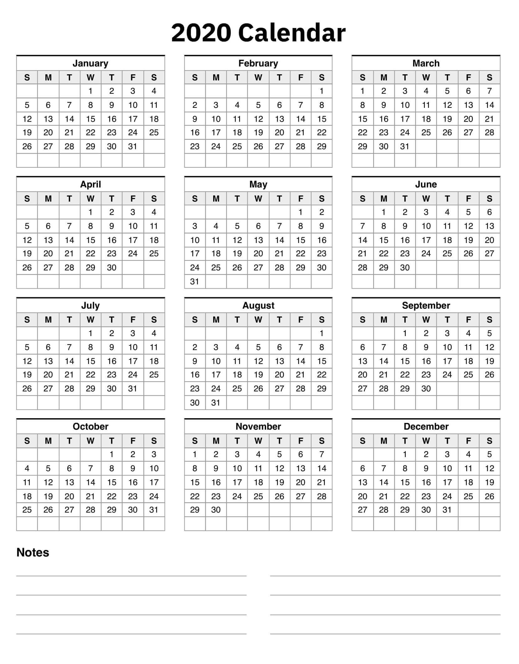 Colorful Yearly Calendar Template With Notes 2020 Word - Set regarding Year At A Glance 2020 Free Printable