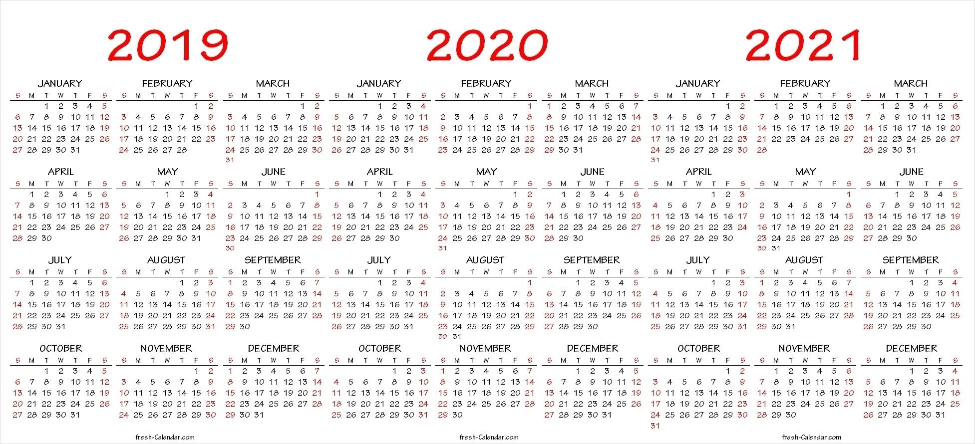 Dandy 3 Year Printable Calendar 2019 To 2021 : Mini Calendar intended for 2020 Year Calendar Printable Free Bangla